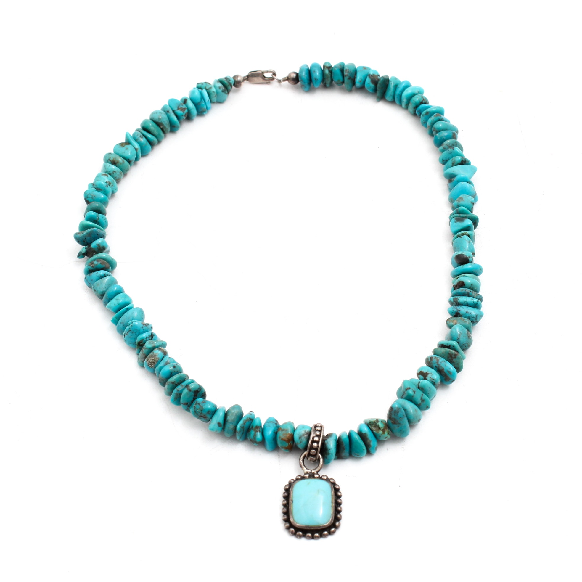 Southwestern Style Turquoise and Sterling Silver Necklace