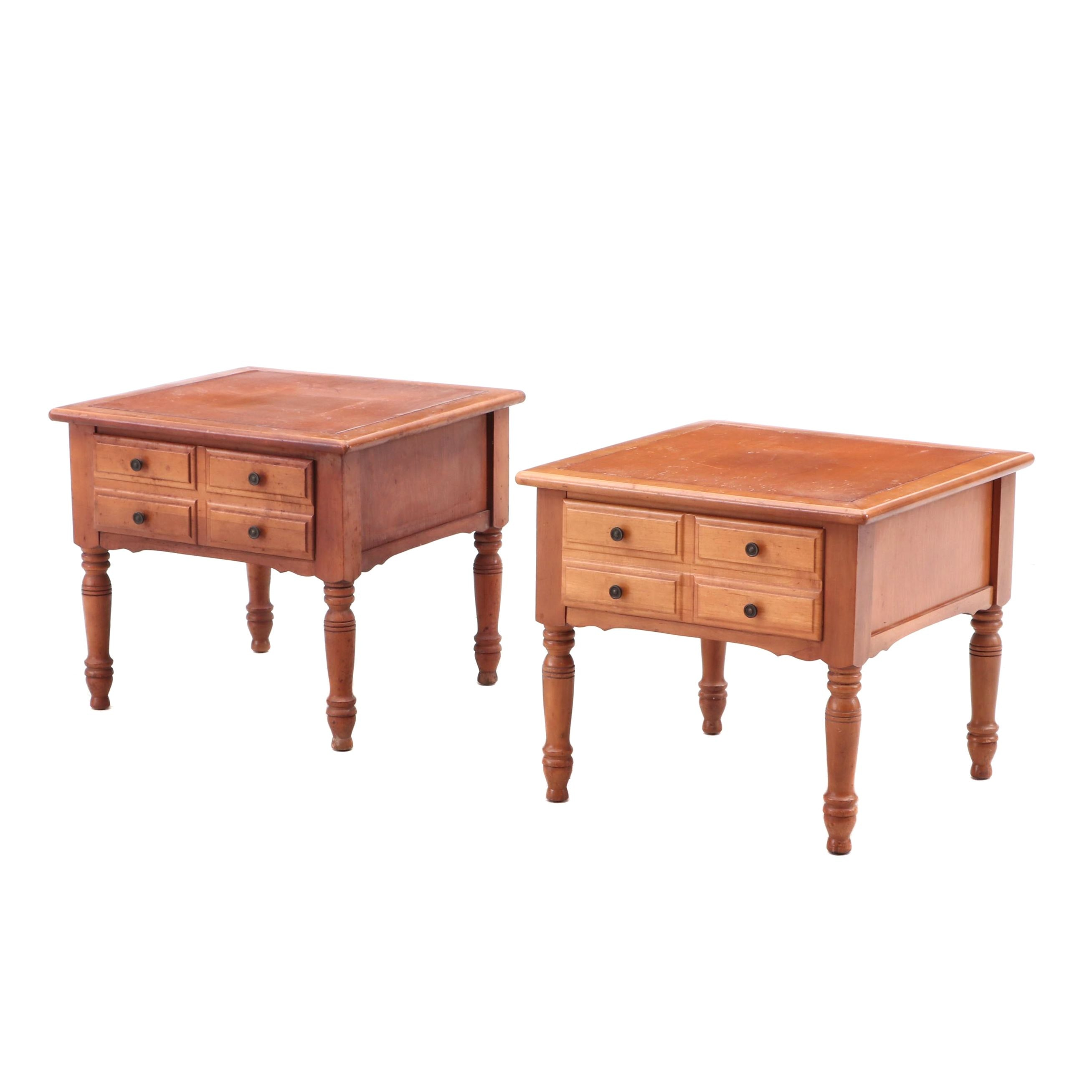 Pair Side Tables in Walnut Finish