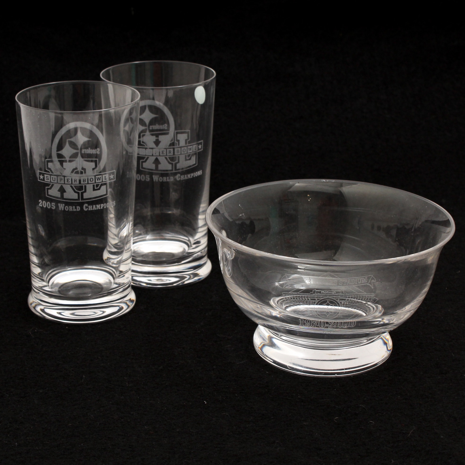 Tiffany & Co. Pittsburgh Steelers Commemorative Bowl and Glasses