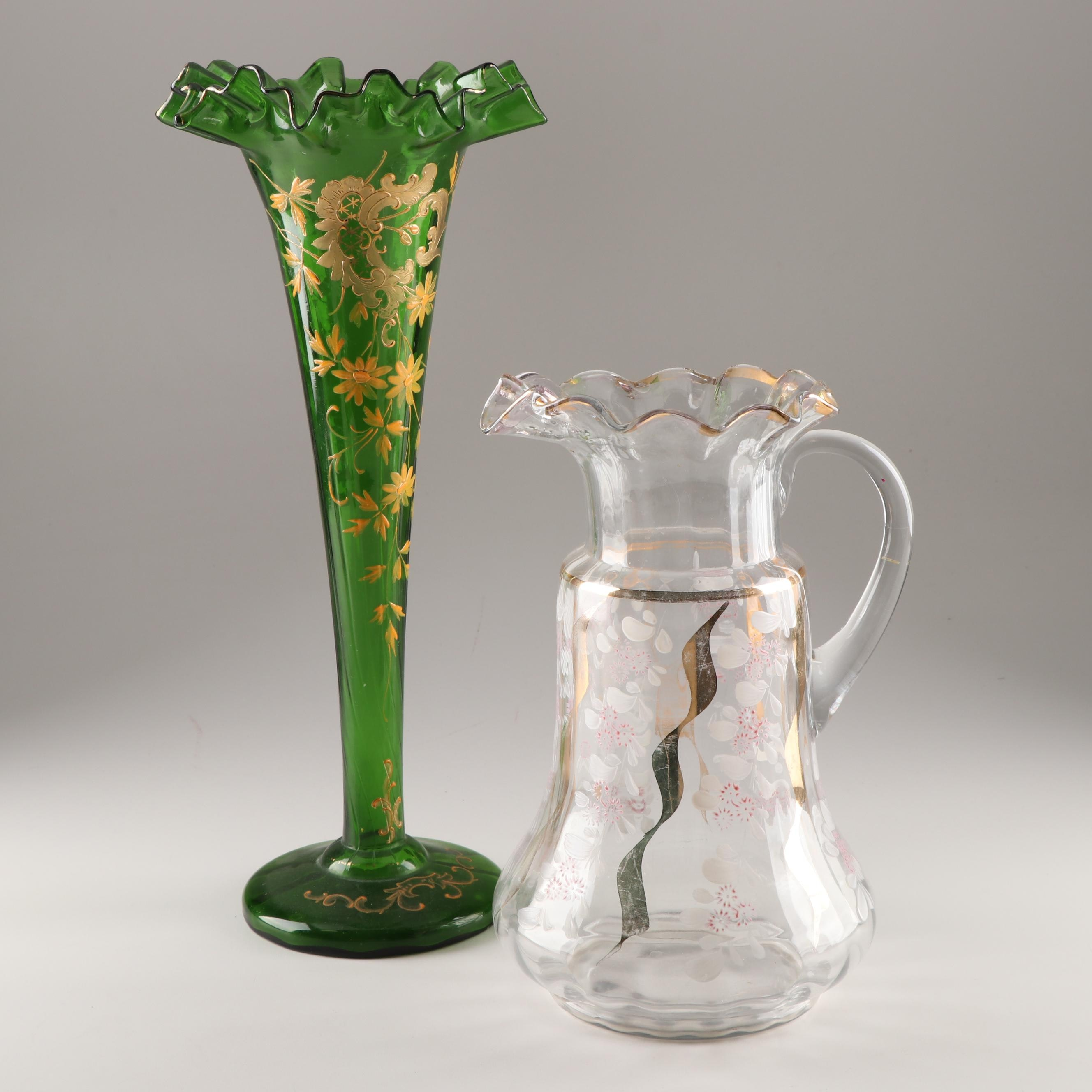 American Victorian Art Glass Trumpet Vase and Pitcher