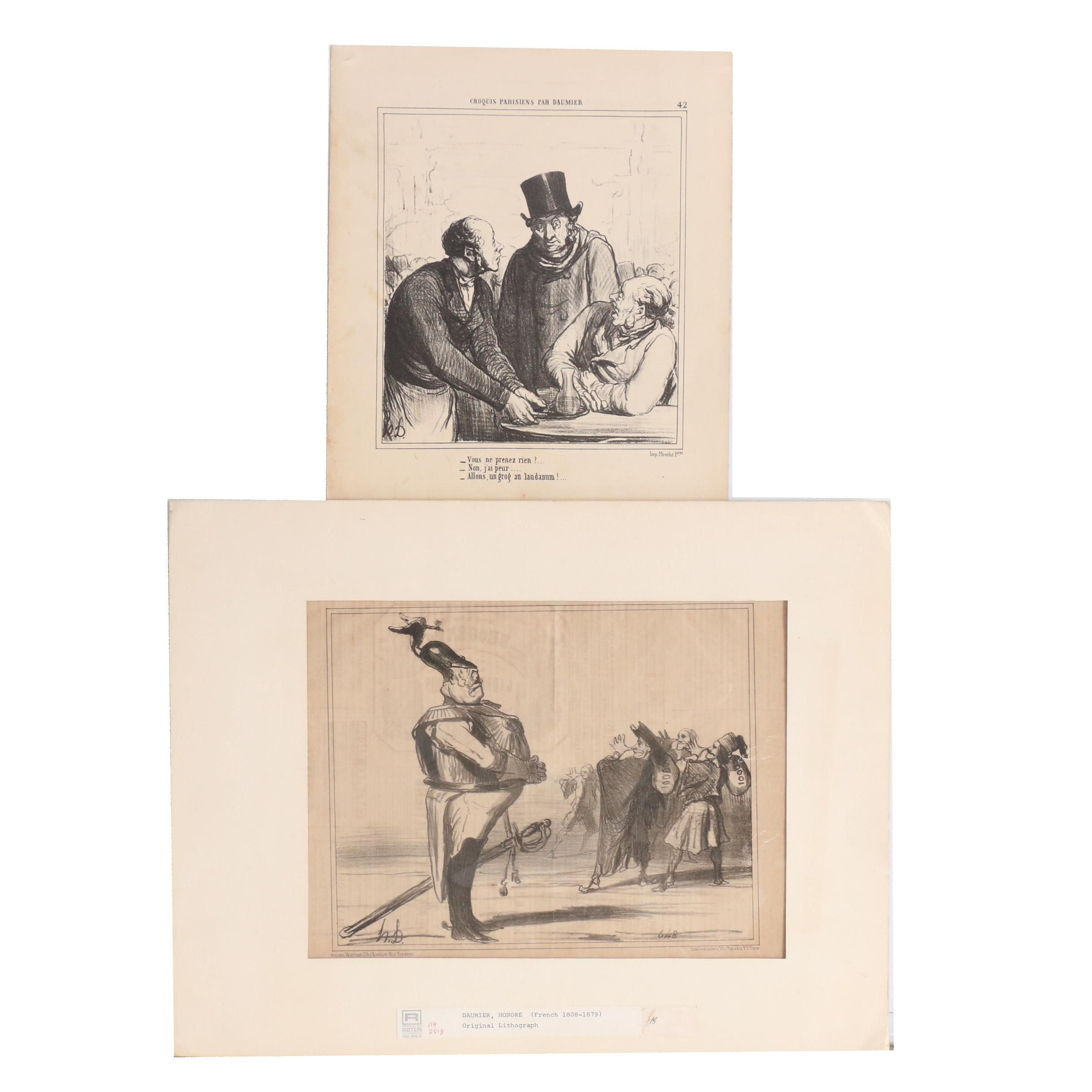 "Lithograph and Halftone after Honoré Daumier ""Actualité"" and ""Croquis Parisiens"""
