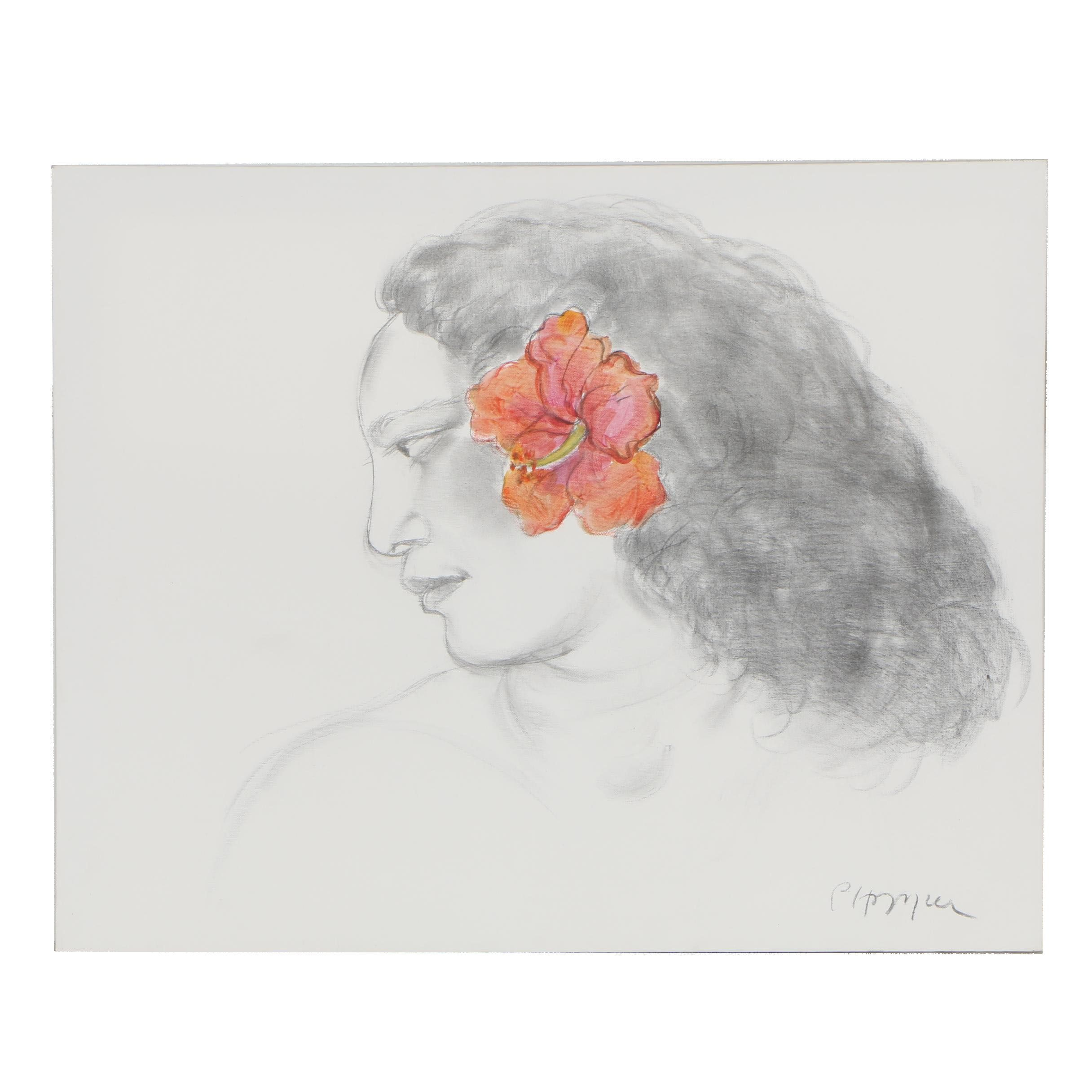 Pegge Hopper Hawaiian Charcoal Drawing with Acrylic Accent