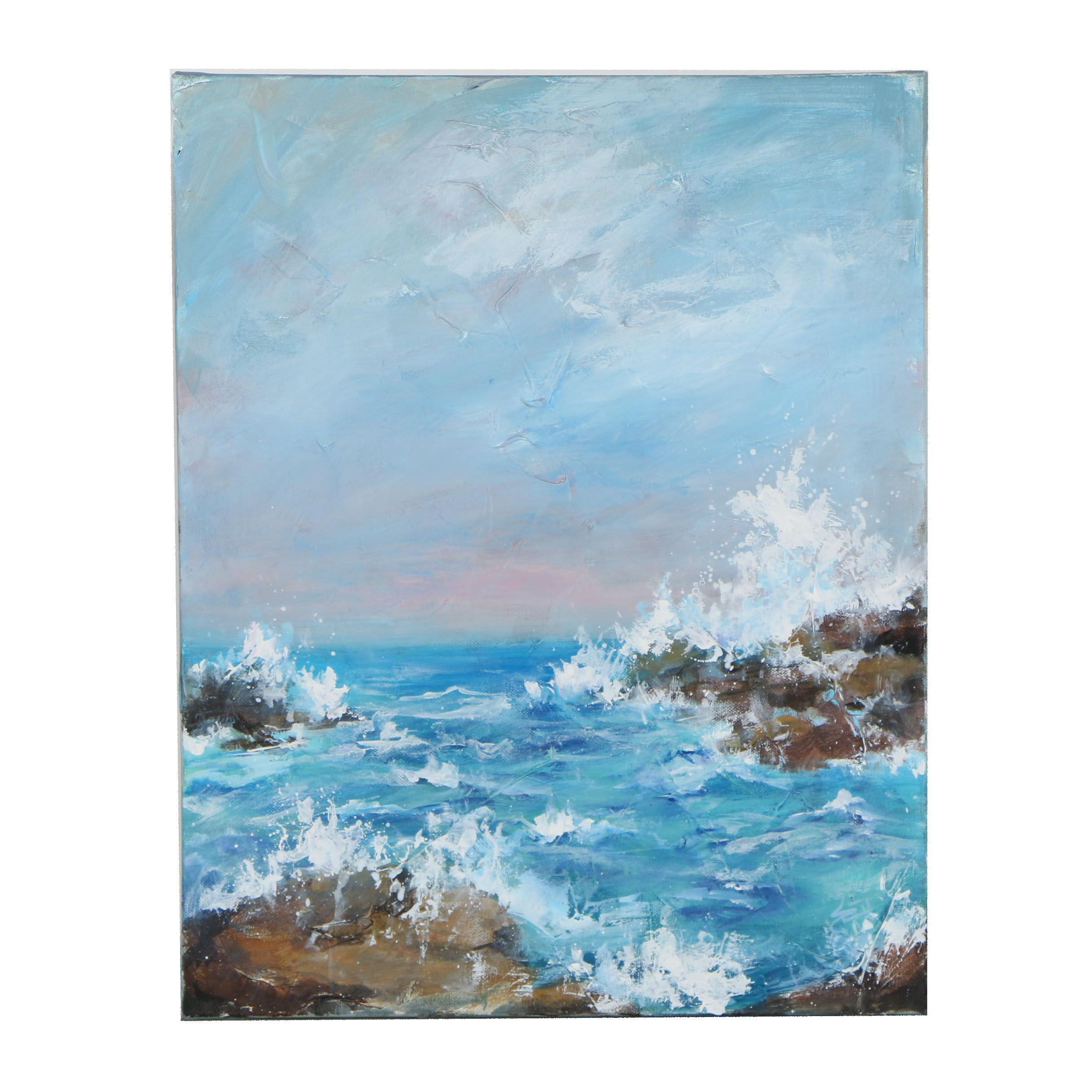 "Sue Dion Acrylic Painting ""Breakers II"""