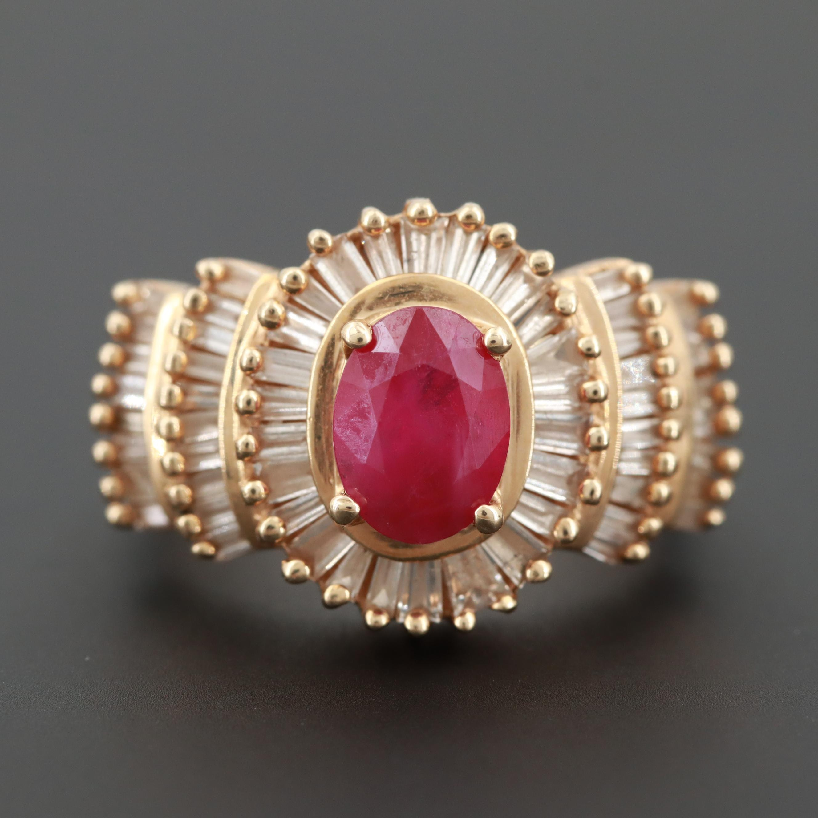 14K Yellow Gold 1.39 CT Ruby and 1.00 CTW Diamond Ring
