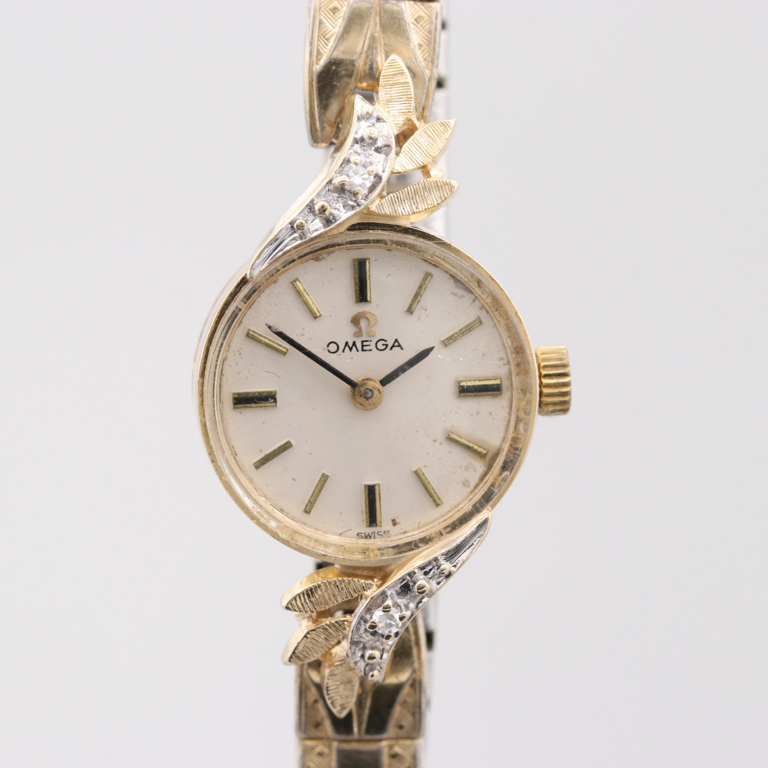 Omega 14K Yellow Gold Wristwatch with Diamond Foliate Case