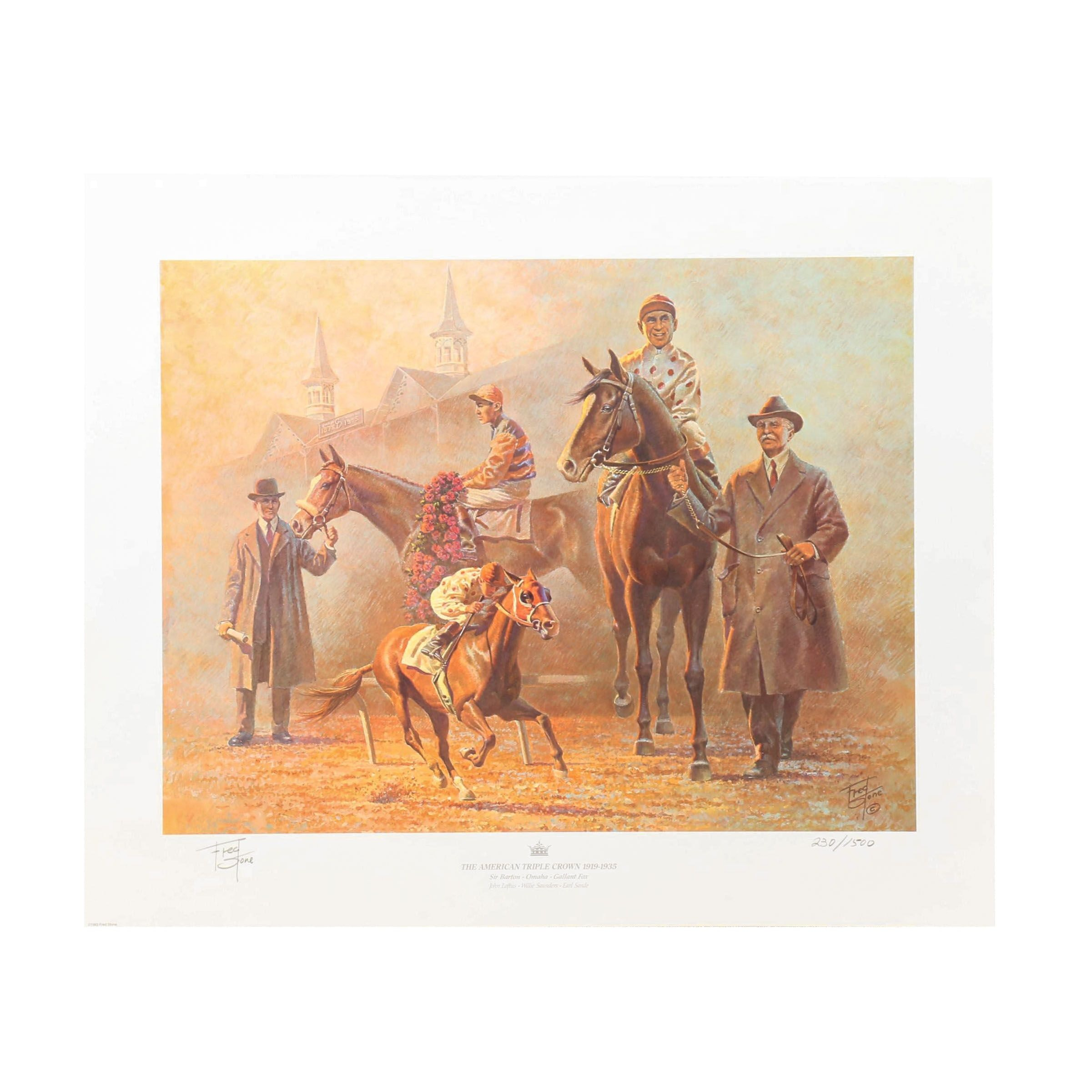 "Fred Stone Offset Lithograph ""The American Triple Crown 1919-1935"""