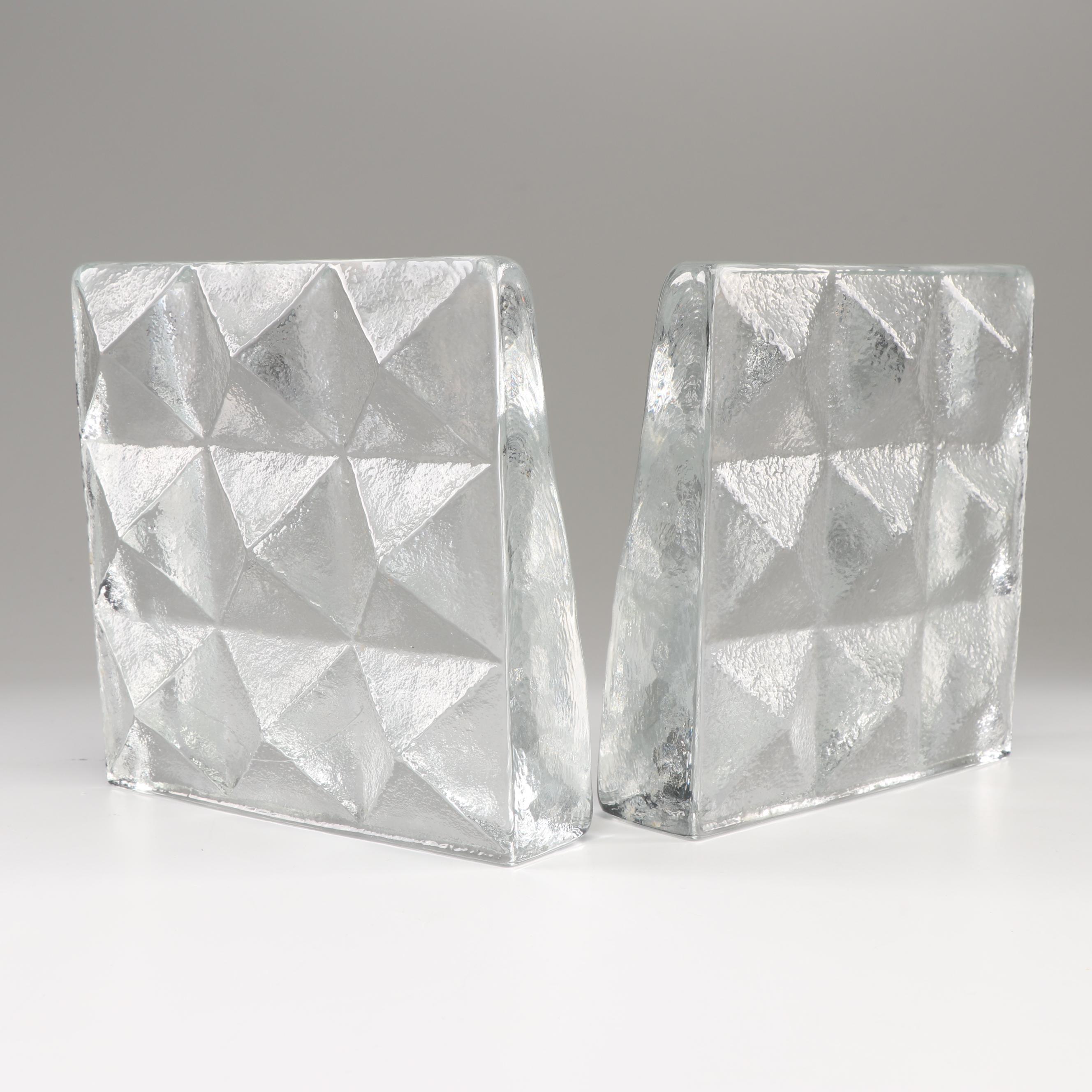Glass Block Bookends After Blenko