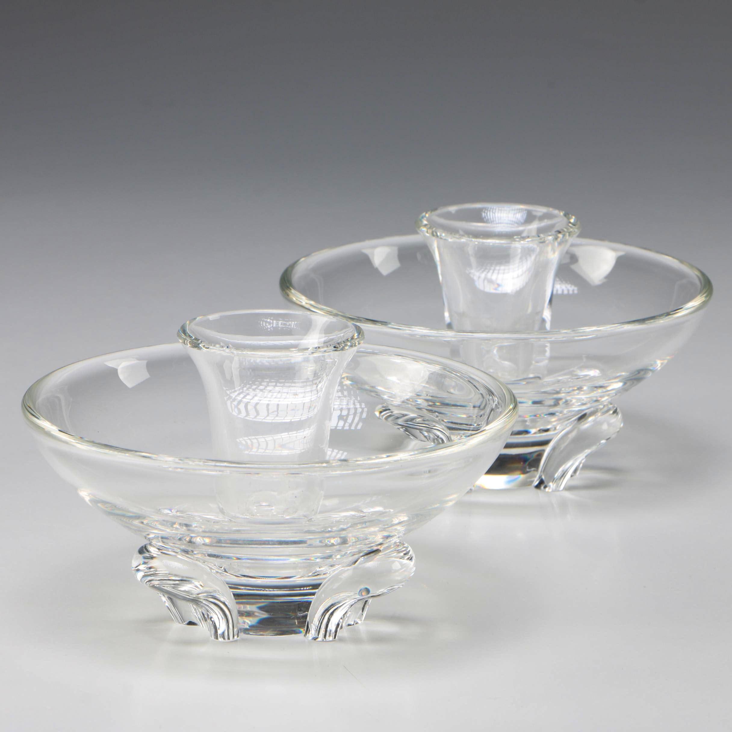 """Steuben Art Glass """"Coronet"""" Candlesticks Designed by Donald Pollard, 1956"""