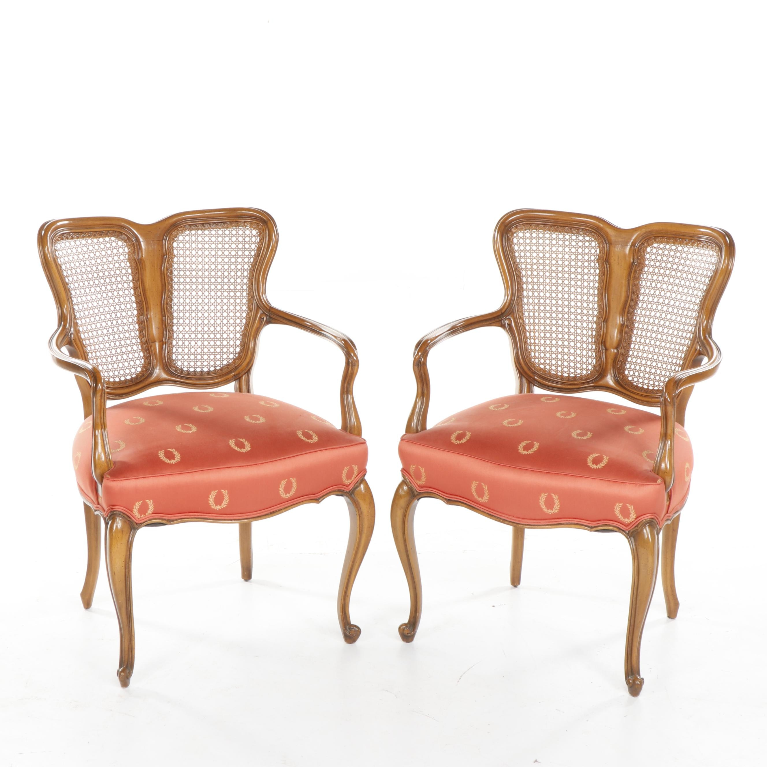 Pair of Louis XIV Revival Style Upholstered Armchairs, Vintage