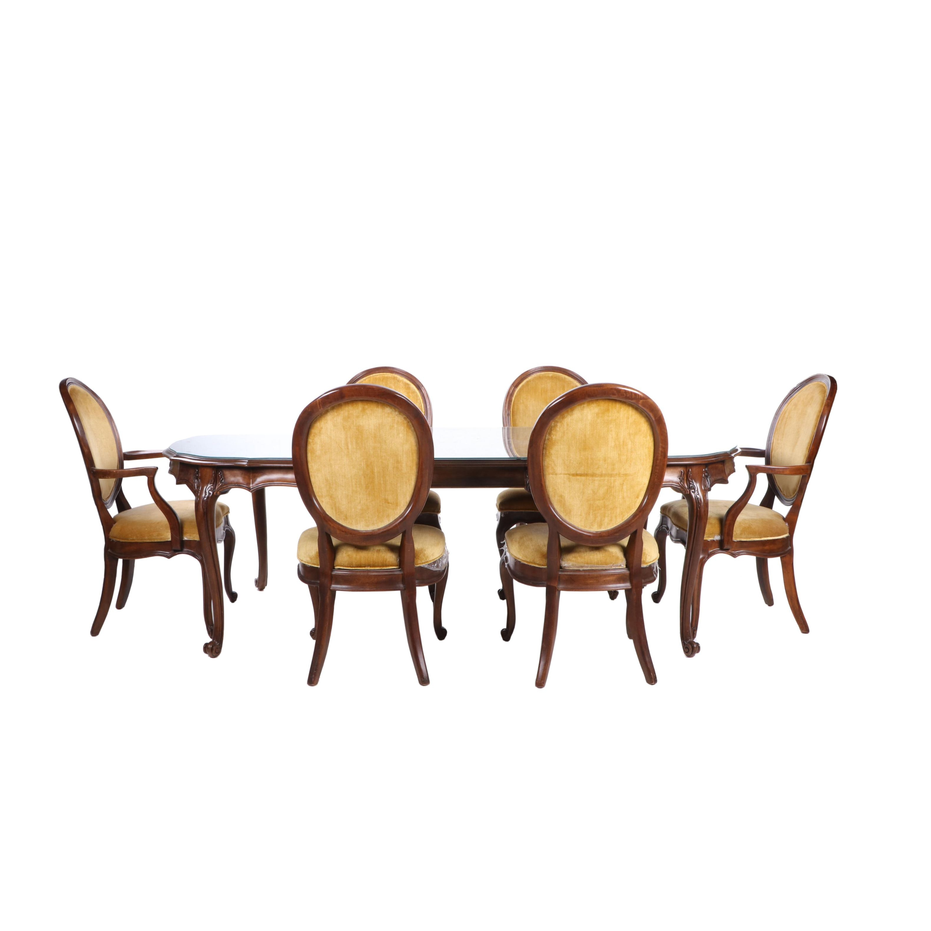 Contemporary Walnut Dining Table and Chairs, White Furniture Co.