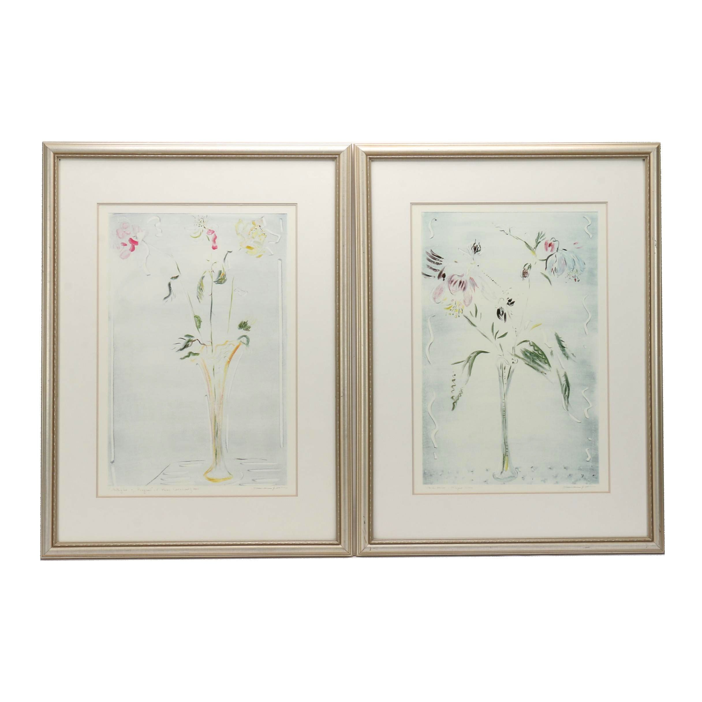 Joanne Isaac Offset Lithographs of Flowers in Vases