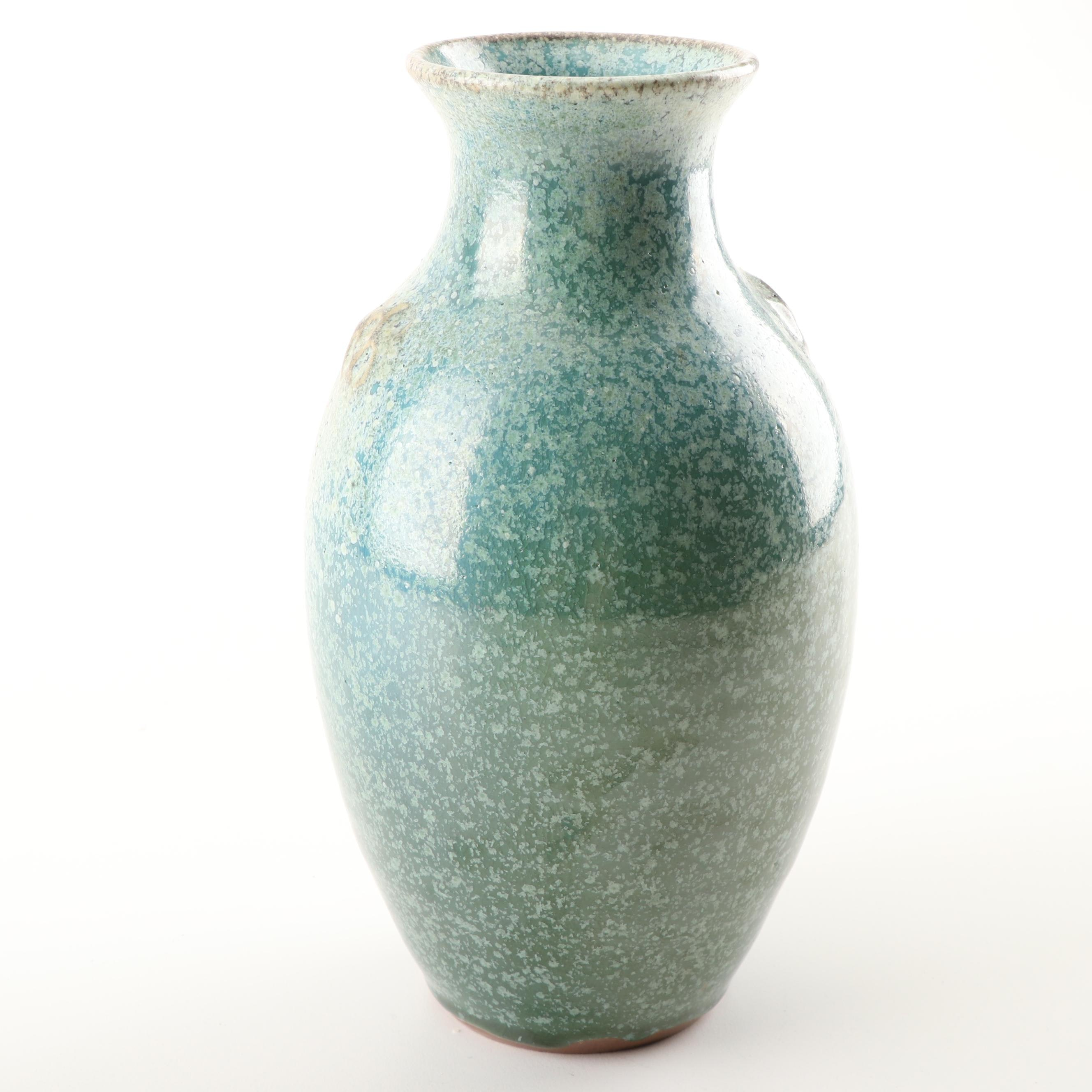 Wheel Thrown Salt Glaze Vase by Ben Owen III of Seagrove, NC