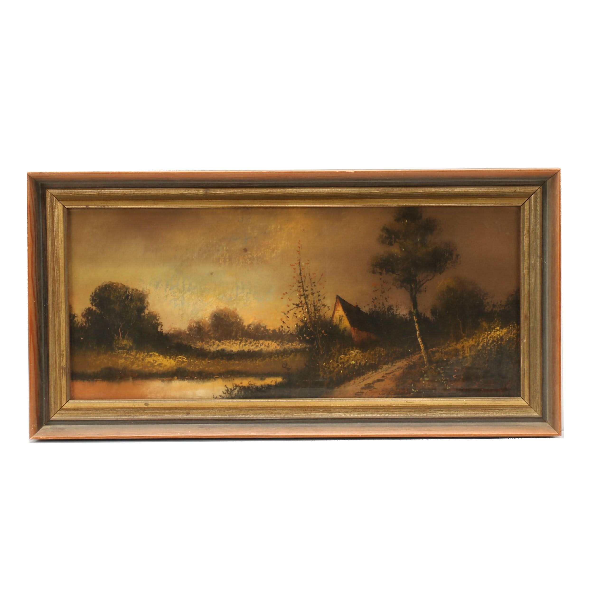 Early 20th Century Landscape Charcoal Drawing