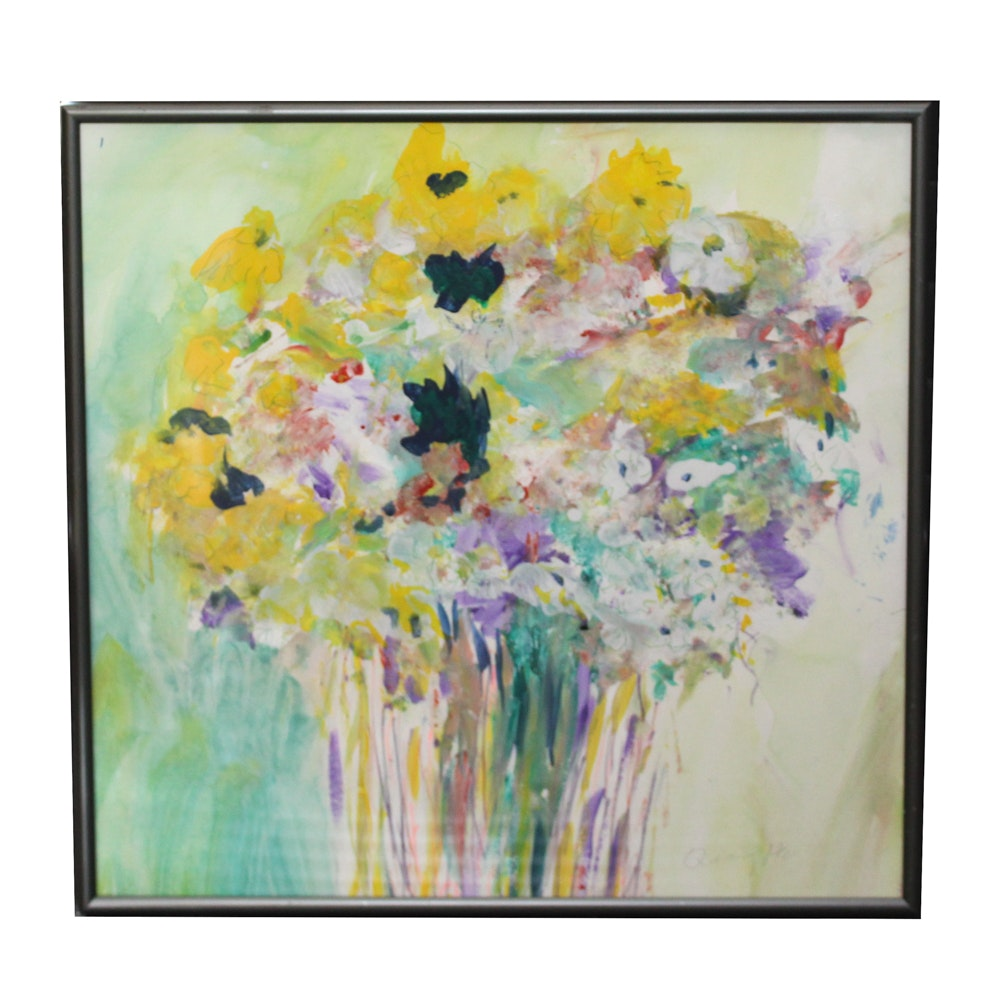 Qiang He Mixed Media Painting of Bouquet of Flowers