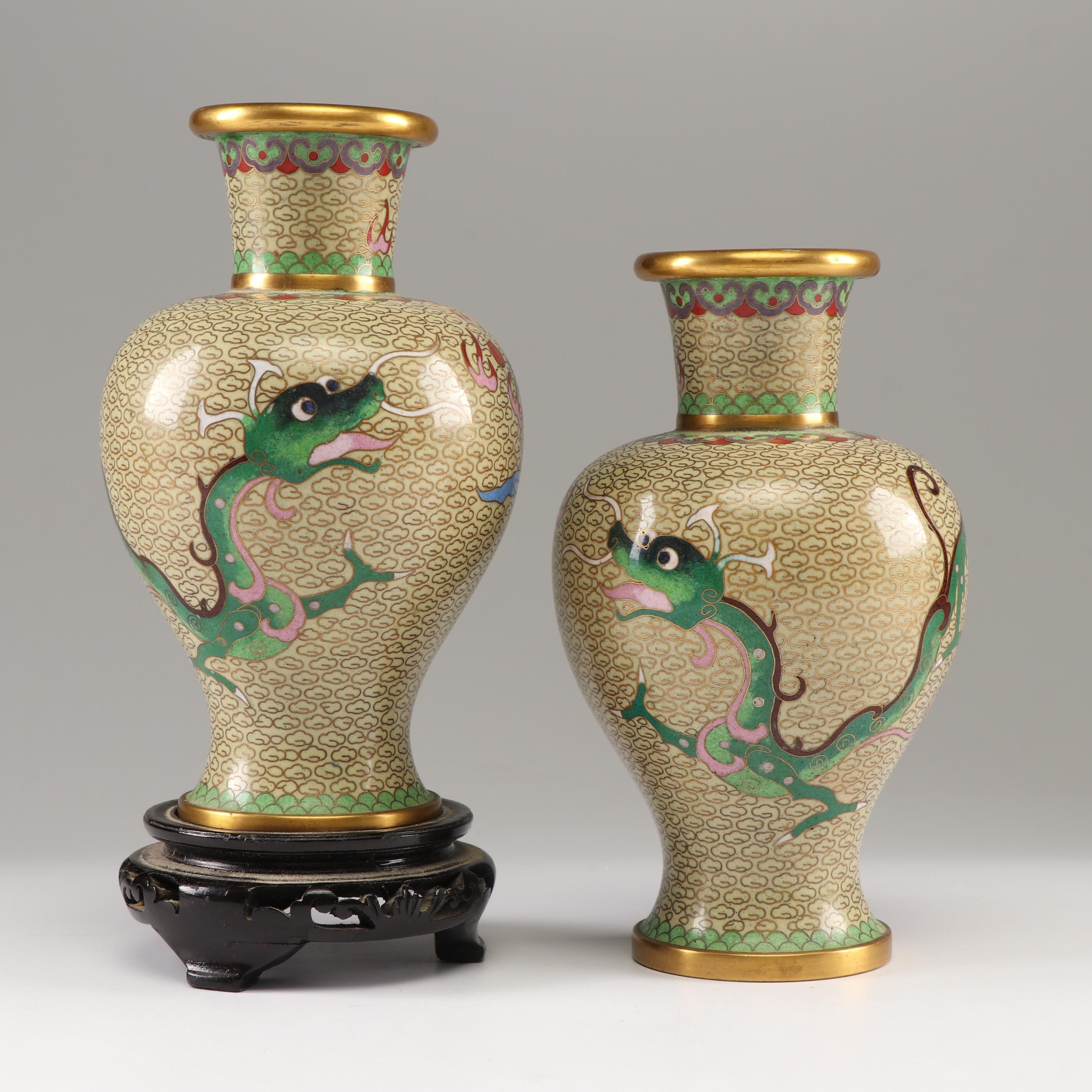 Chinese Cloisonné Vases Depicting a Dragon