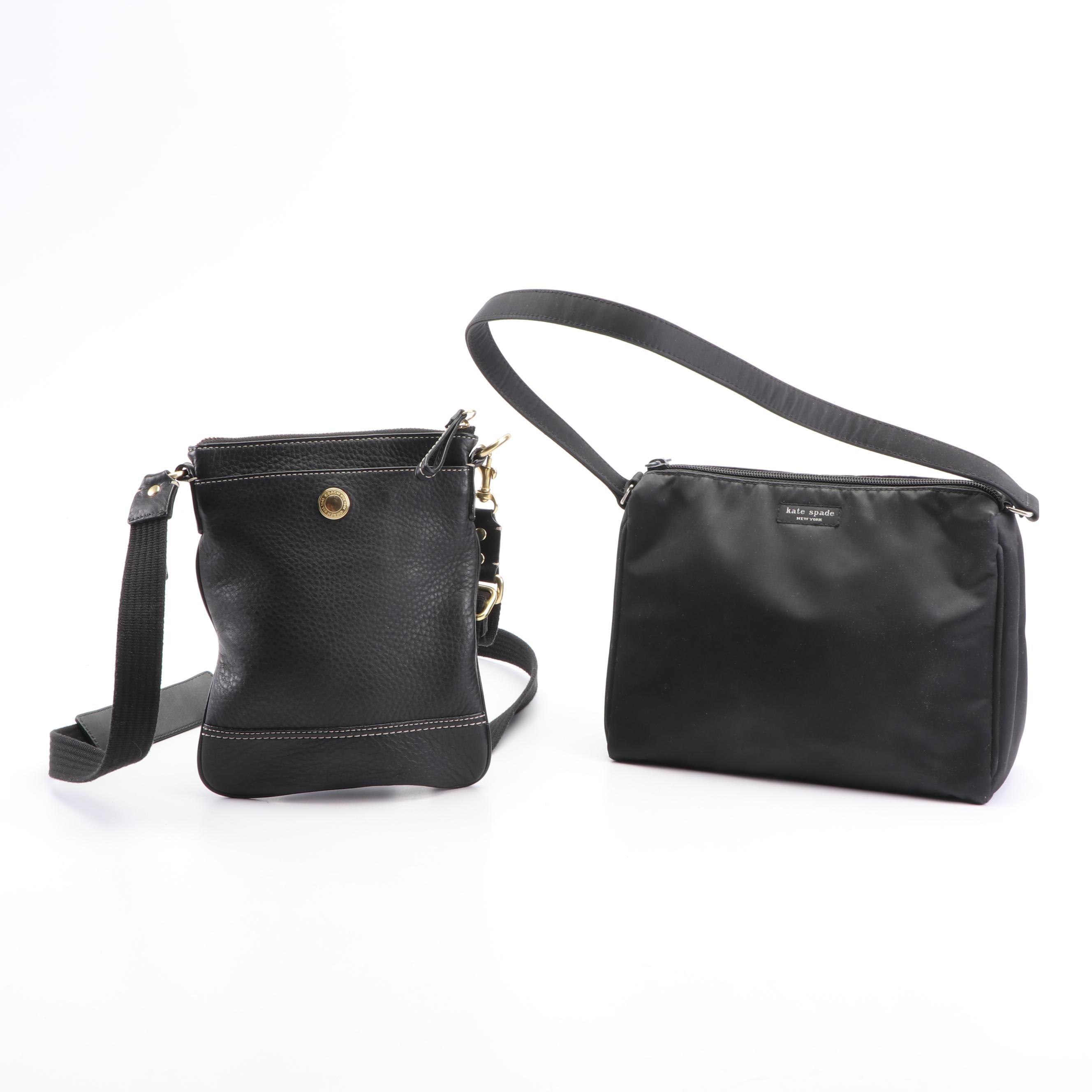 Coach Black Pebbled Leather Crossbody and Kate Spade New York Nylon Handbag