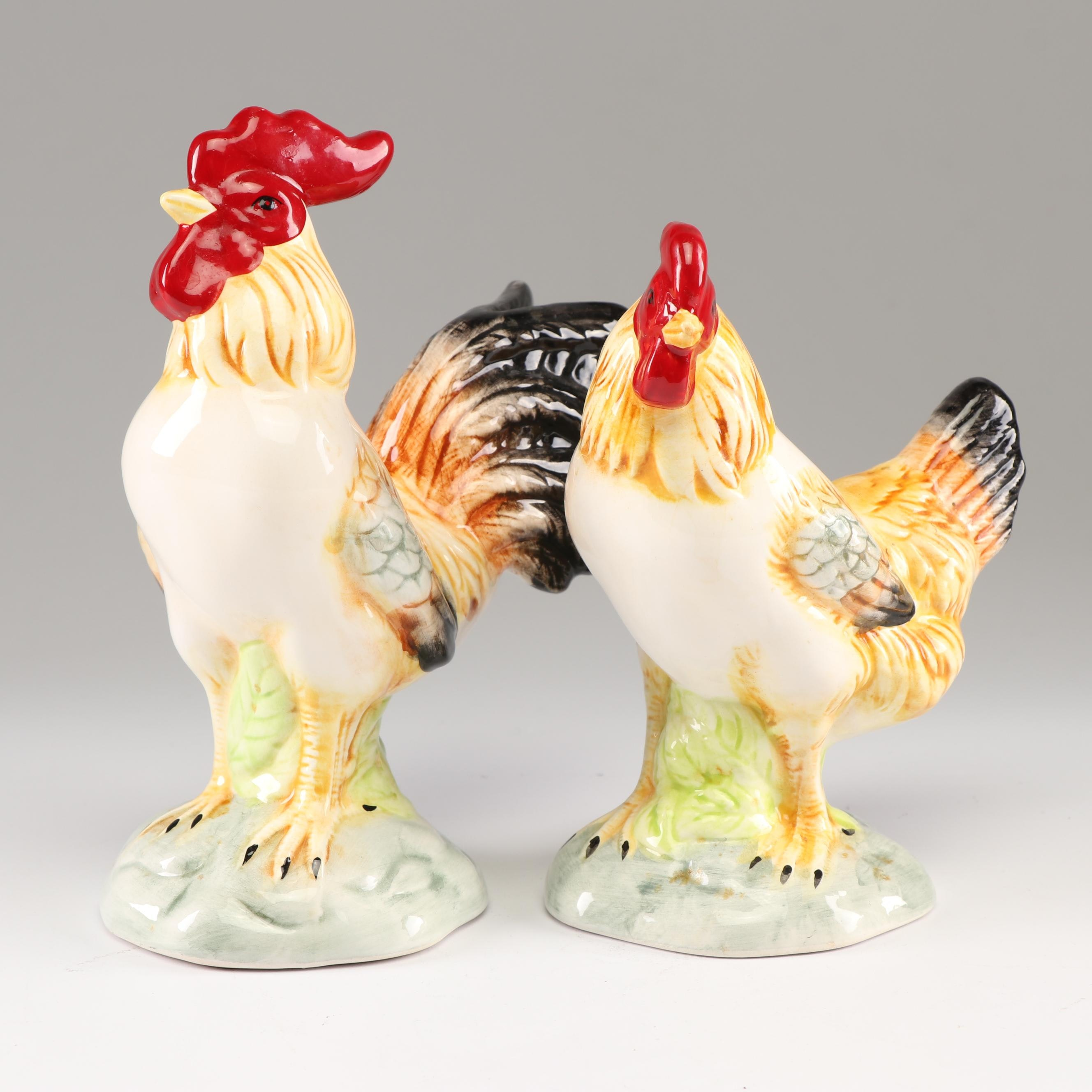 Hand-Painted Ceramic Rooster and Chicken Figurines