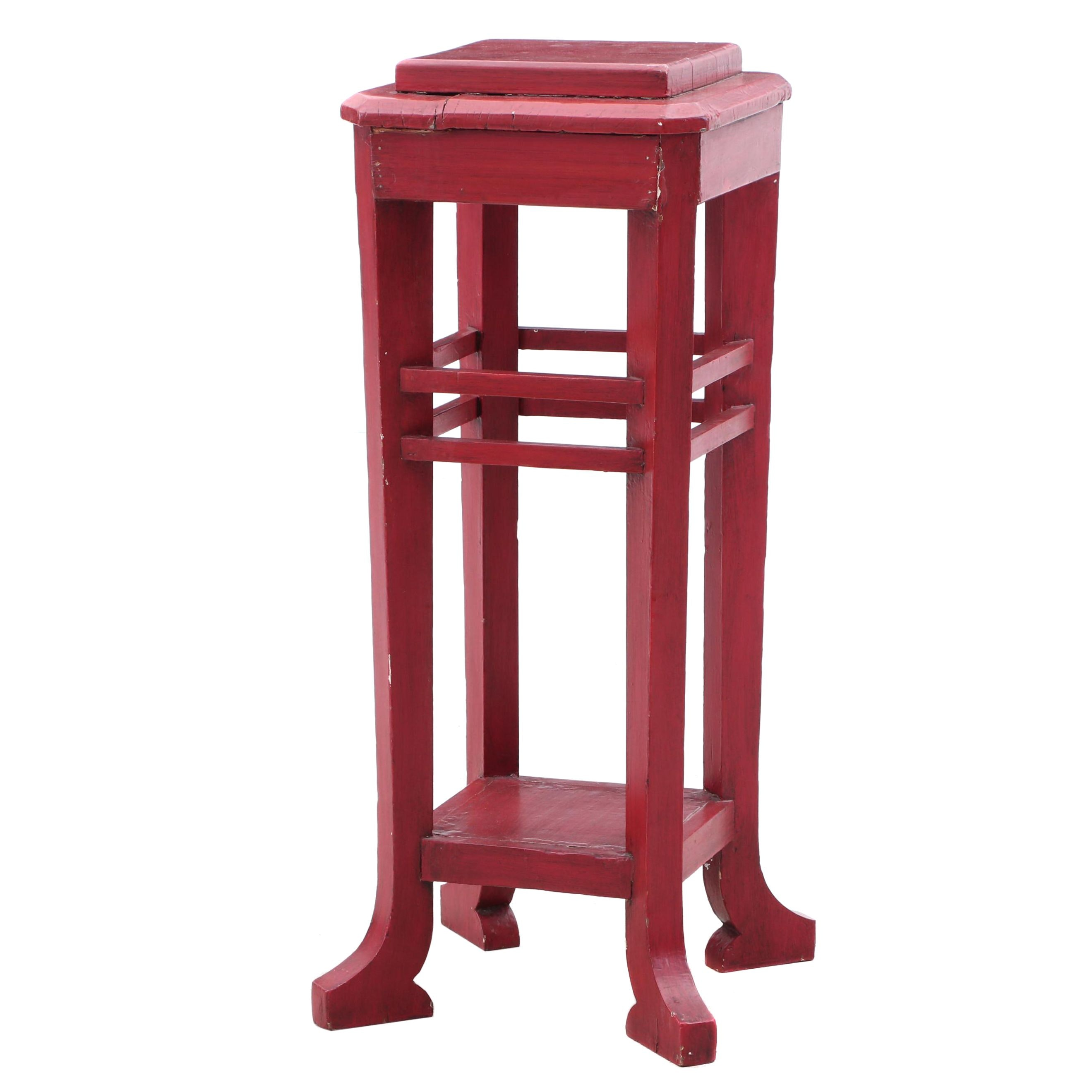 Asian Inspired Red Painted Plant Stand