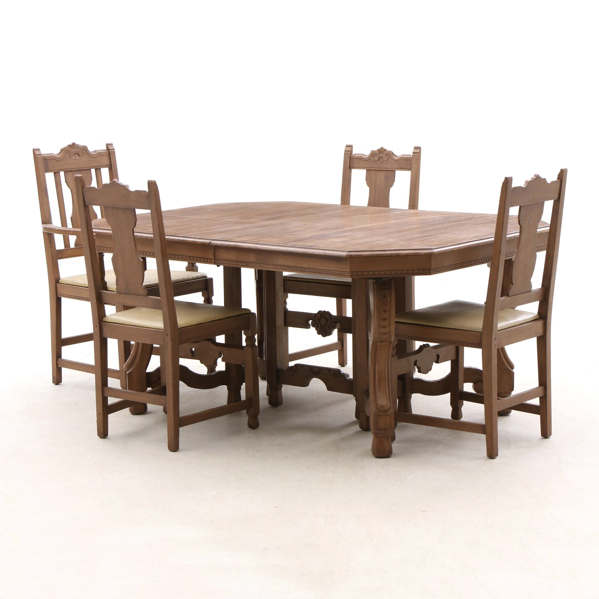 Jacobean Revival Dining Table and Chairs