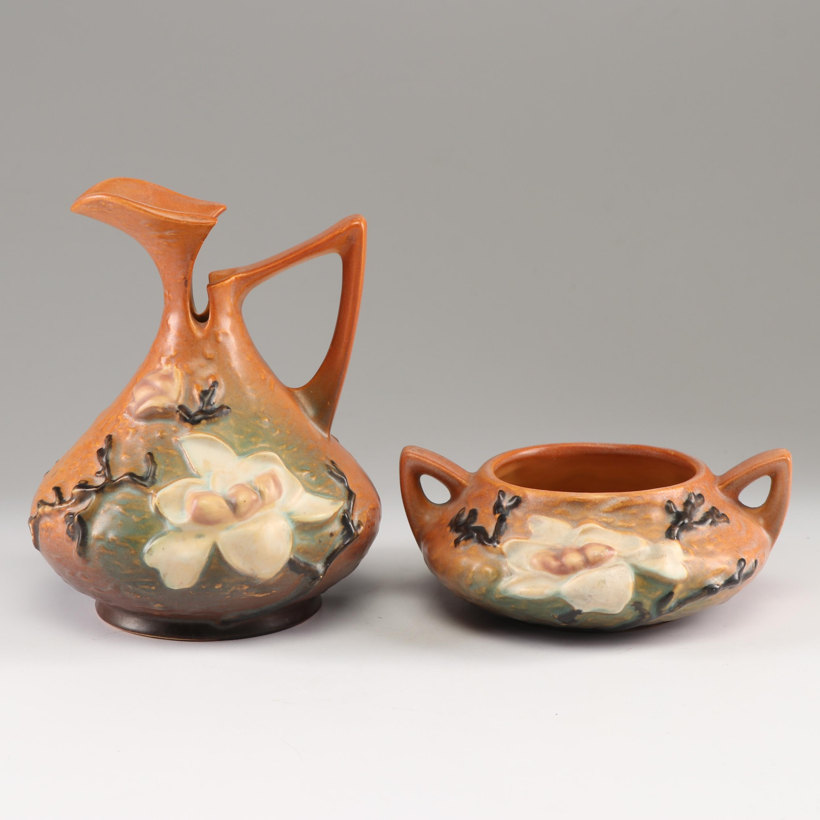 "Roseville Brown ""Magnolia"" Pitcher and Sugar Bowl, Mid to Late 20th Century"