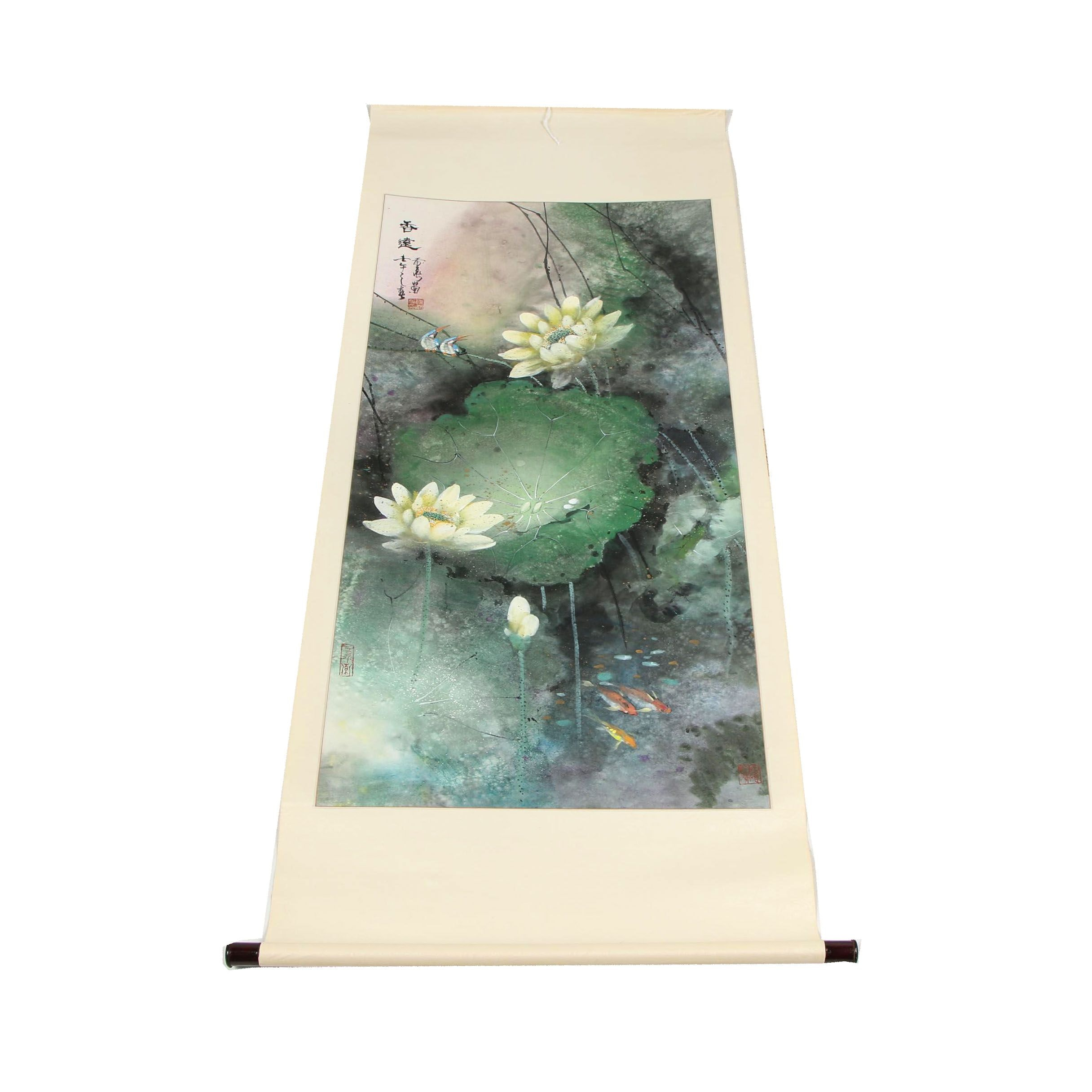 """Chinese Watercolor and Ink Hanging Scroll """"Distant Fragrance"""""""