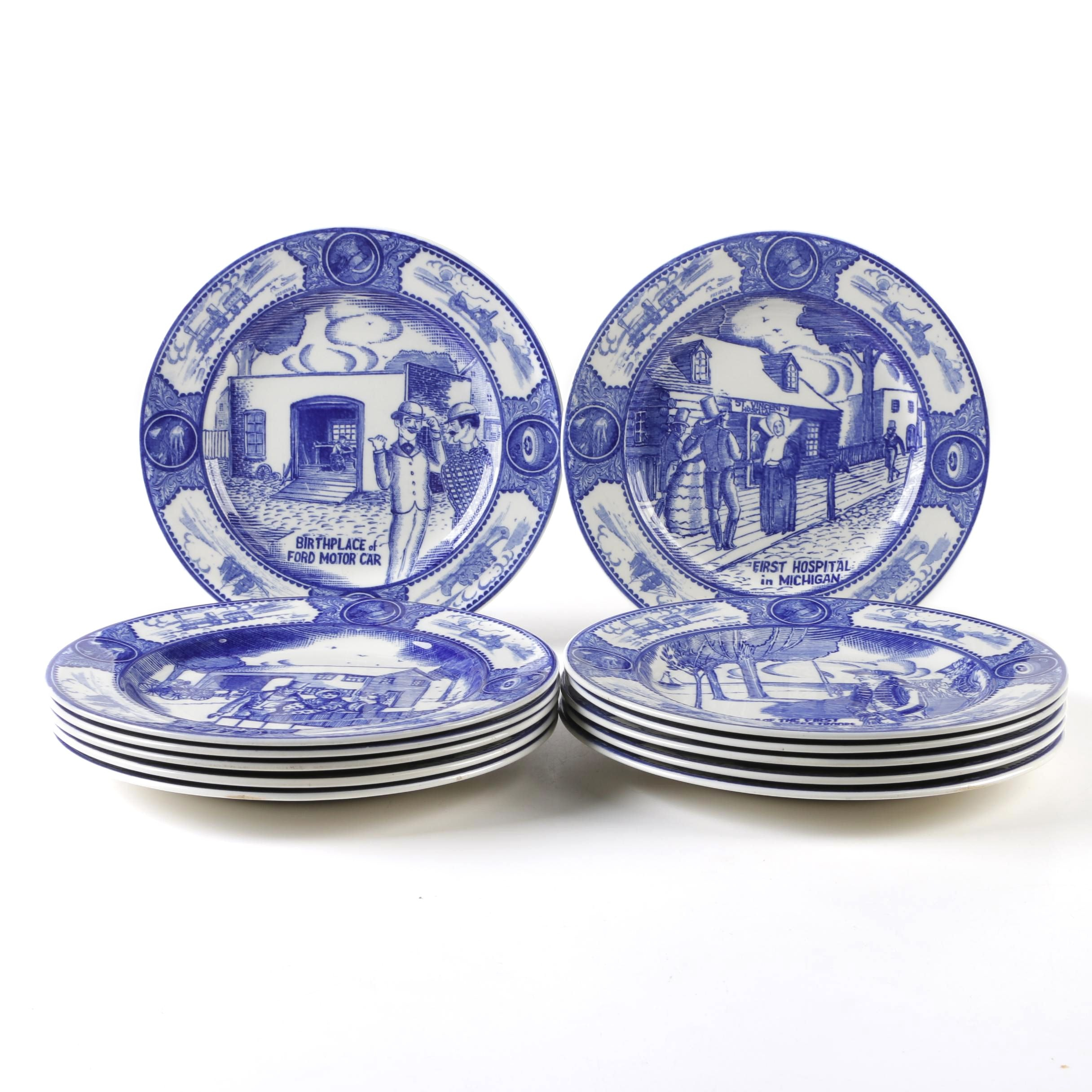 "Spode Copeland ""Historical Scenes of Early Detroit"" Transferware Dinner Plates"