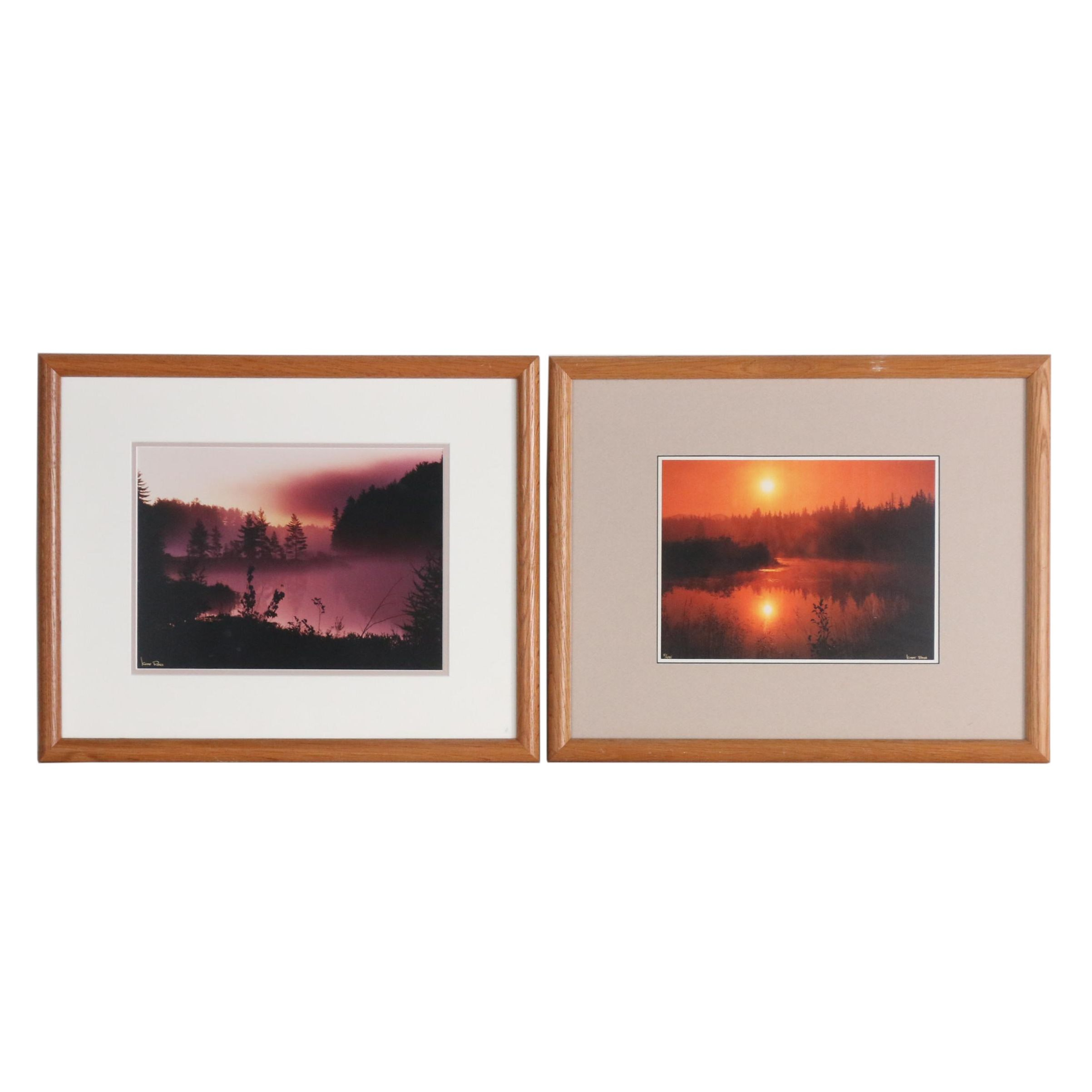 "Kurt Ross Color Photograph ""Prelude in Purple"" and Reproduction ""Floating Light"""