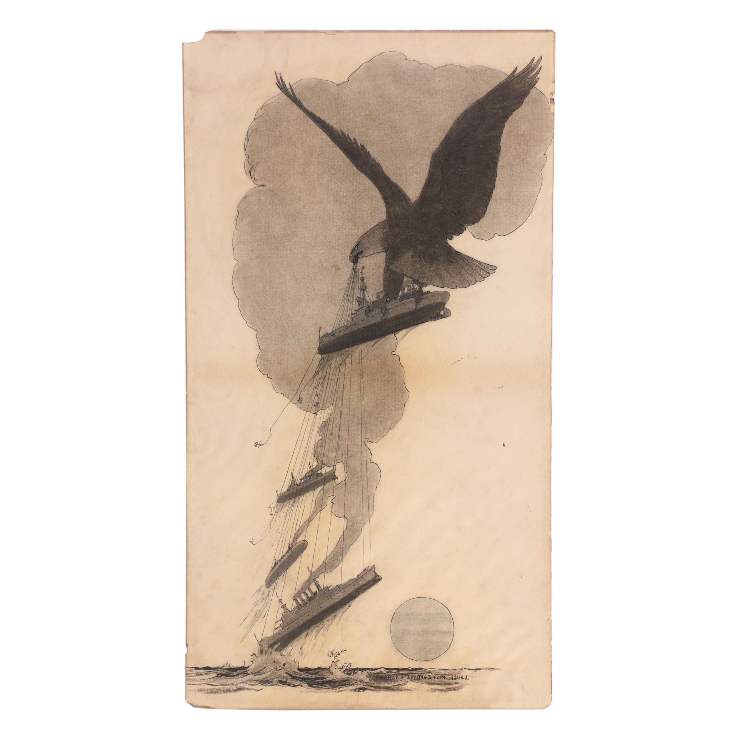 "Charles Livingston Bull Ink and Charcoal Illustration for ""The Vanishing Fleets"""