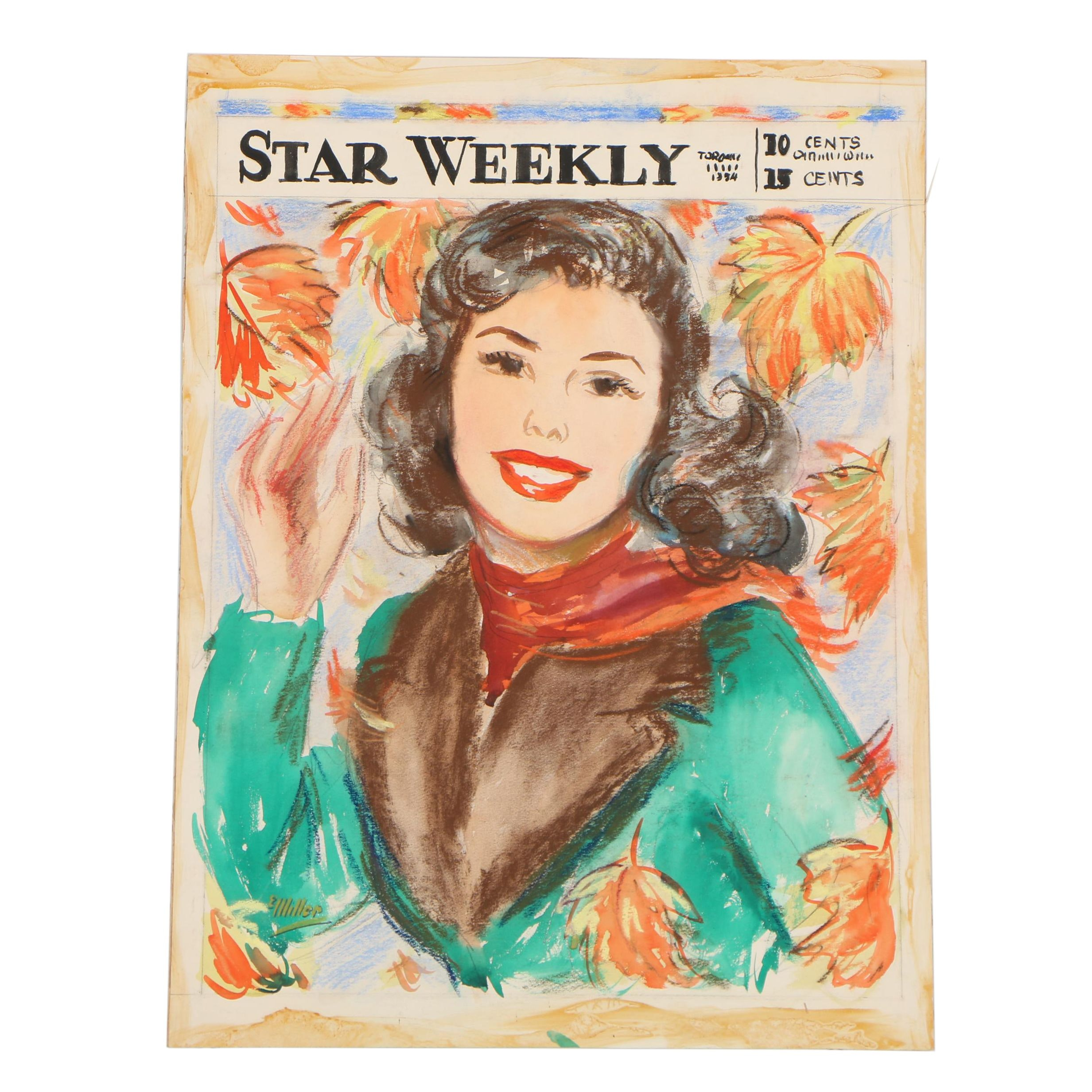 "Elsie Julia Miller Preliminary Mixed Media Illustration for ""Star Weekly"""