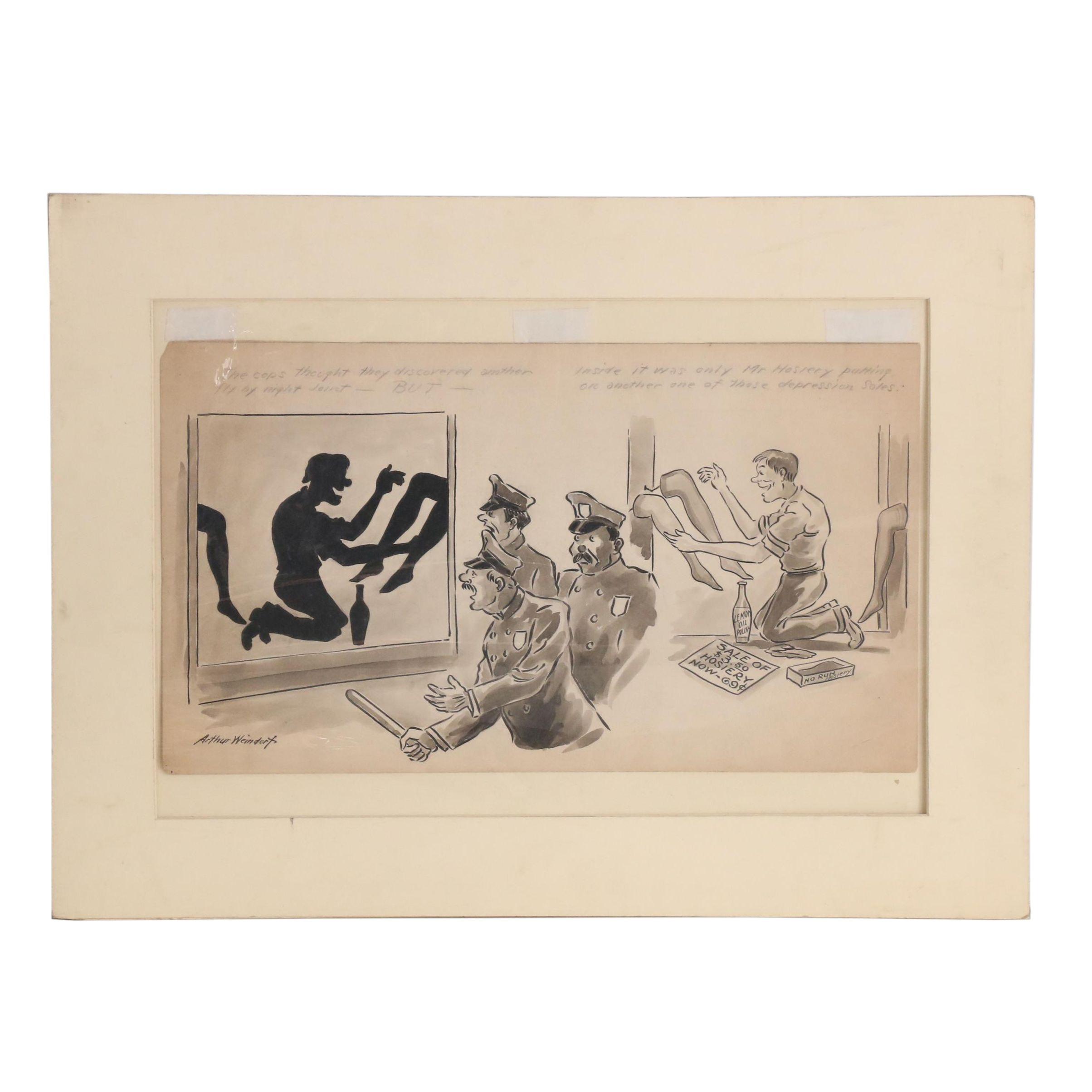 Arthur Weindorf circa 1930 Satirical Ink Illustration