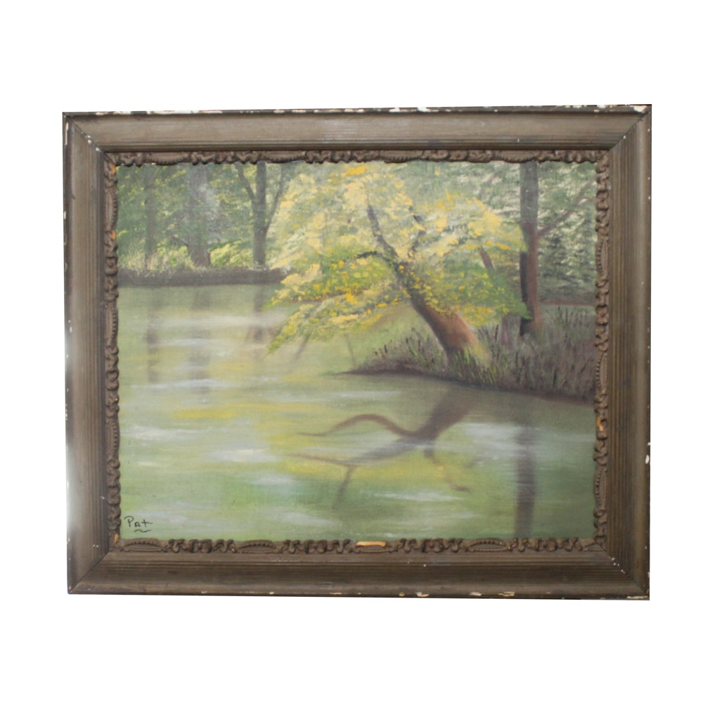 "Pat Fields Oil Painting ""Lake Peaceful"""