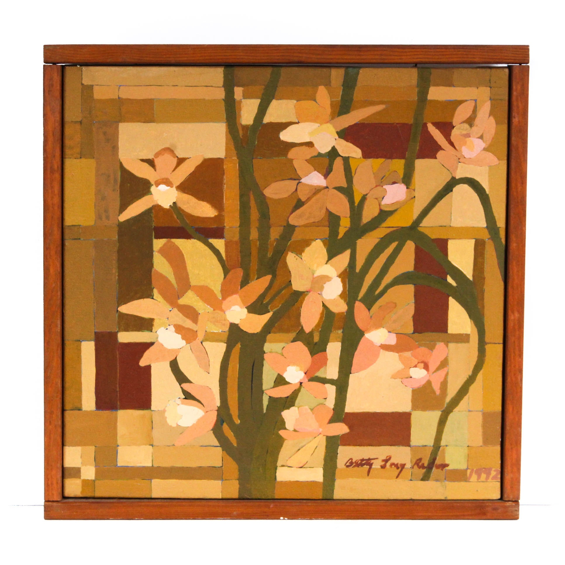 "Betty Long Rader Oil Painting ""Brown Orchids"""