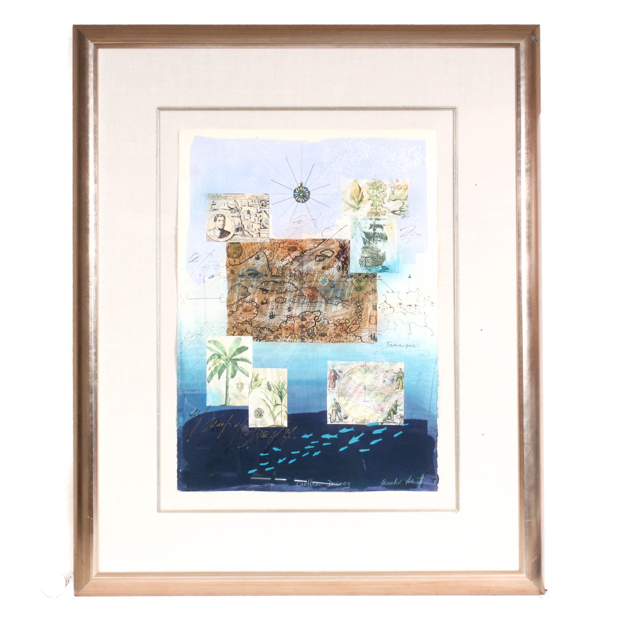 """Annabel Hewitt Mixed Media Collage """"Caribbean Discovery"""""""