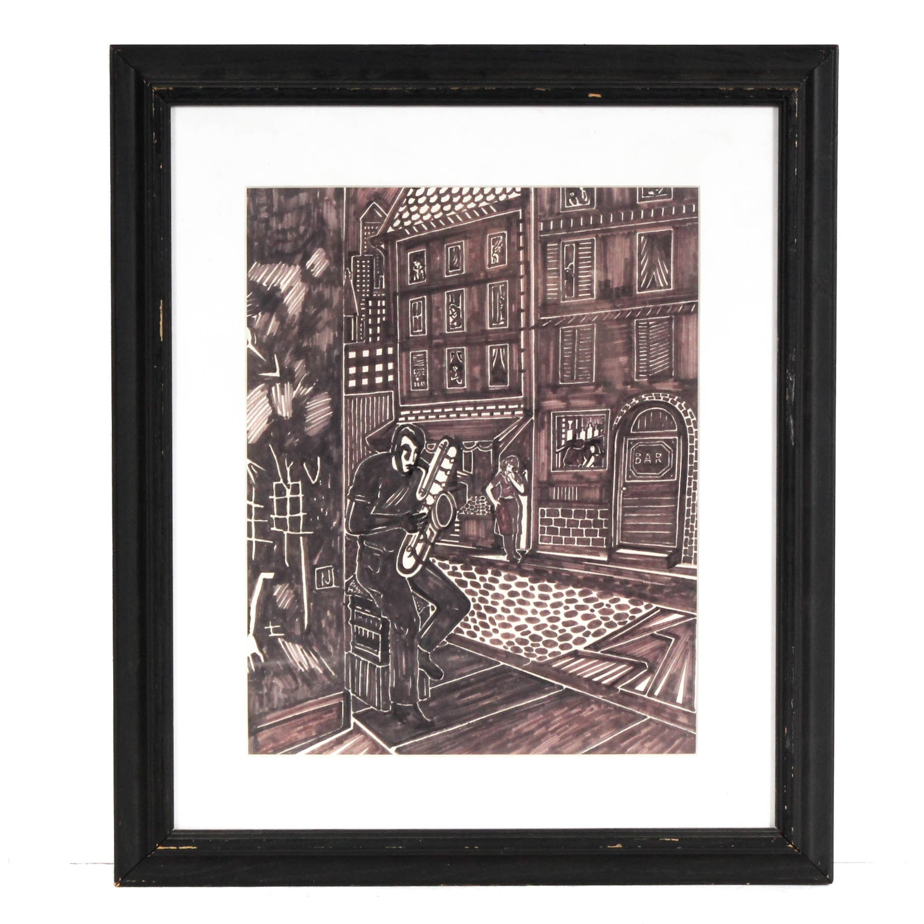 Contemporary Ink Drawing of Street Scene