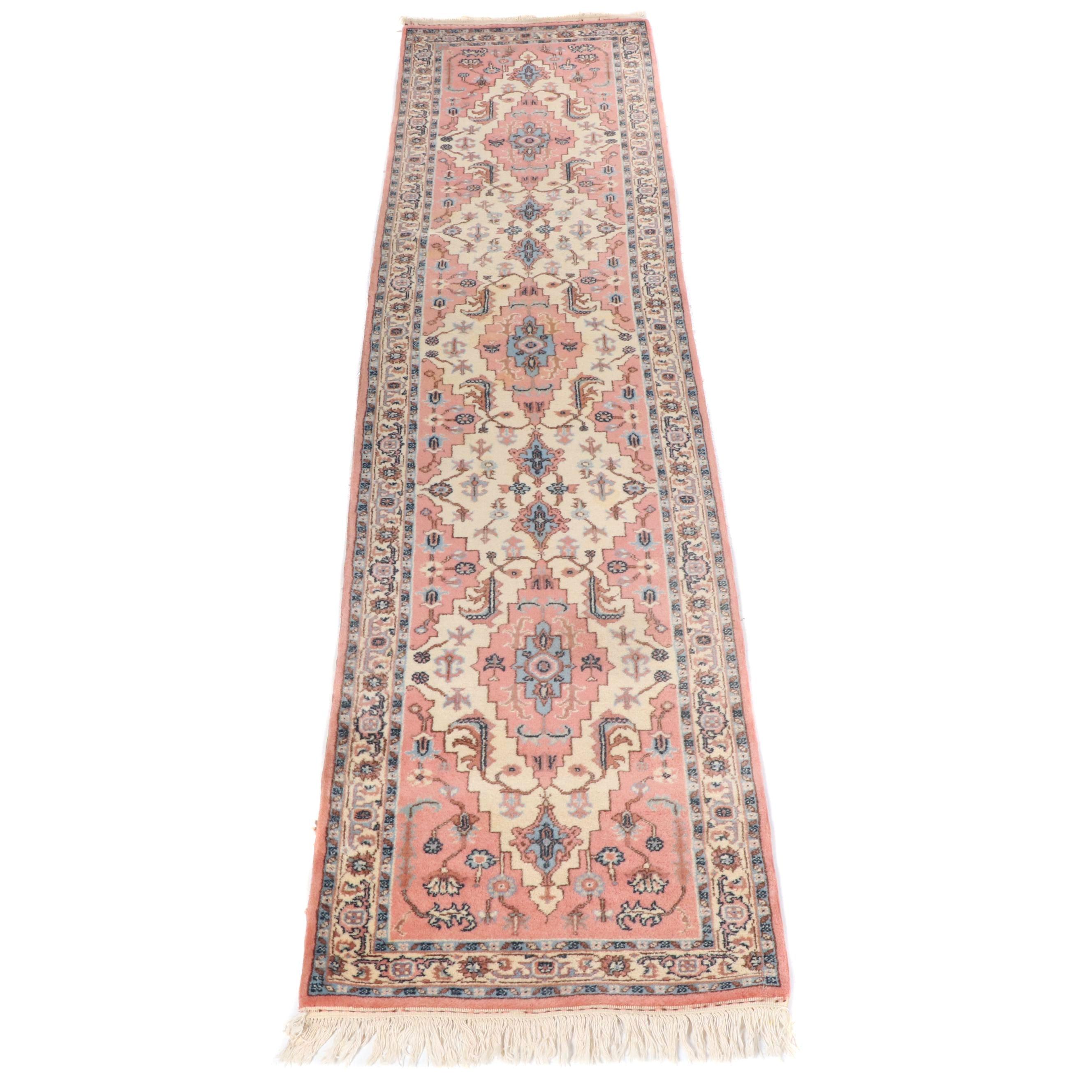 Hand-Knotted Romanian Heriz Wool Carpet Runner