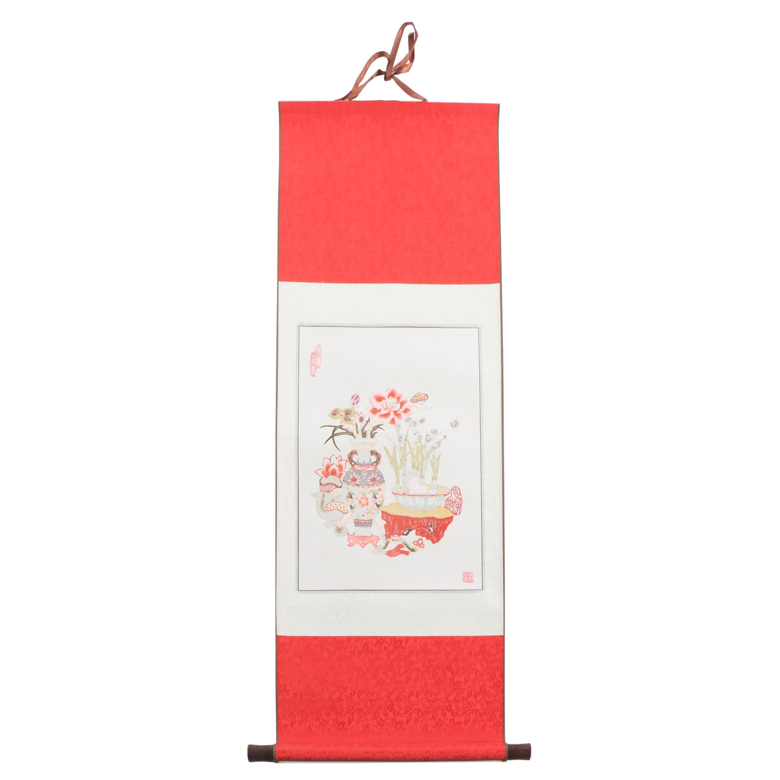 Chinese Watercolor Still Life Hanging Scroll