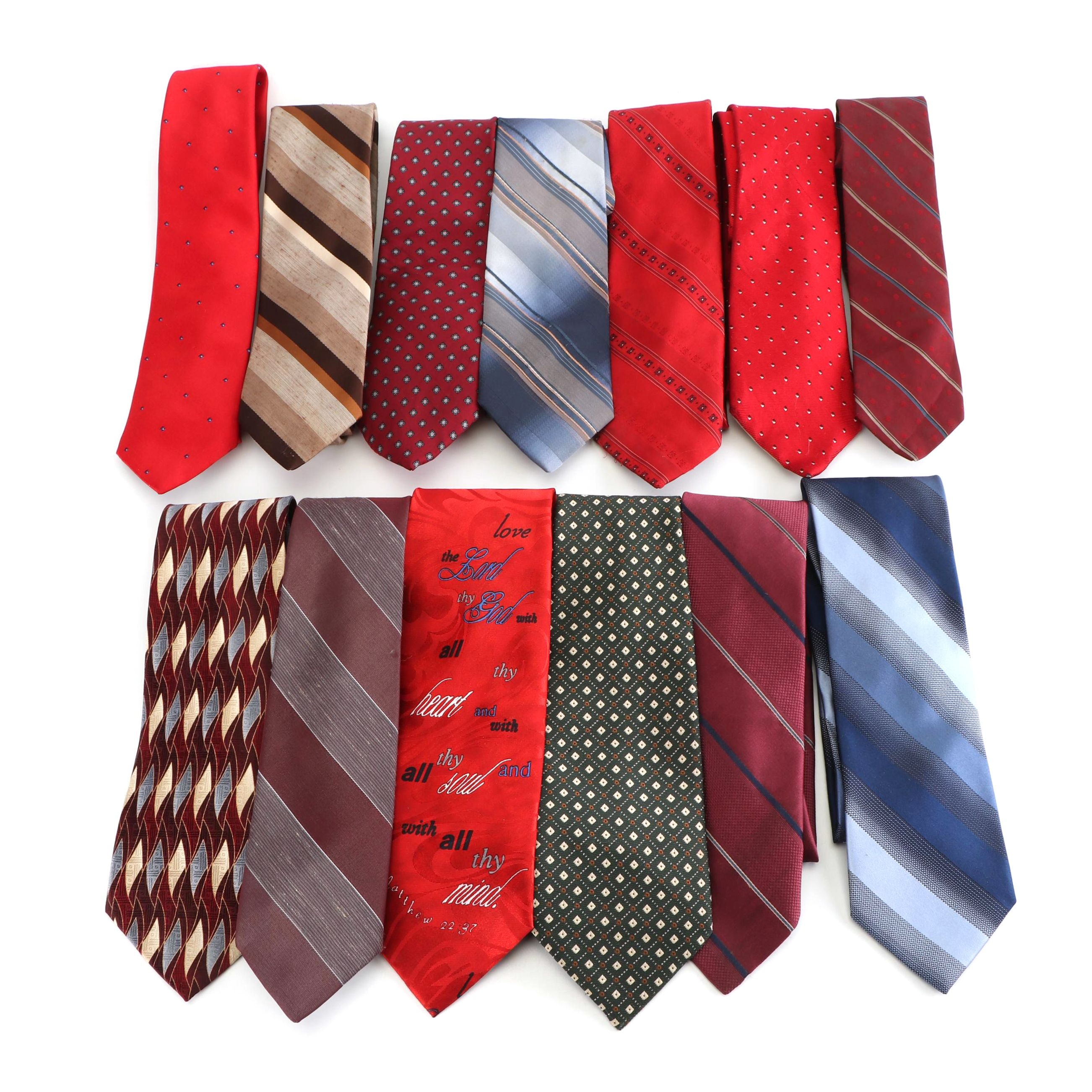 Polyester and Silk Neckties Including Paco Rabanne and Mario Valentino