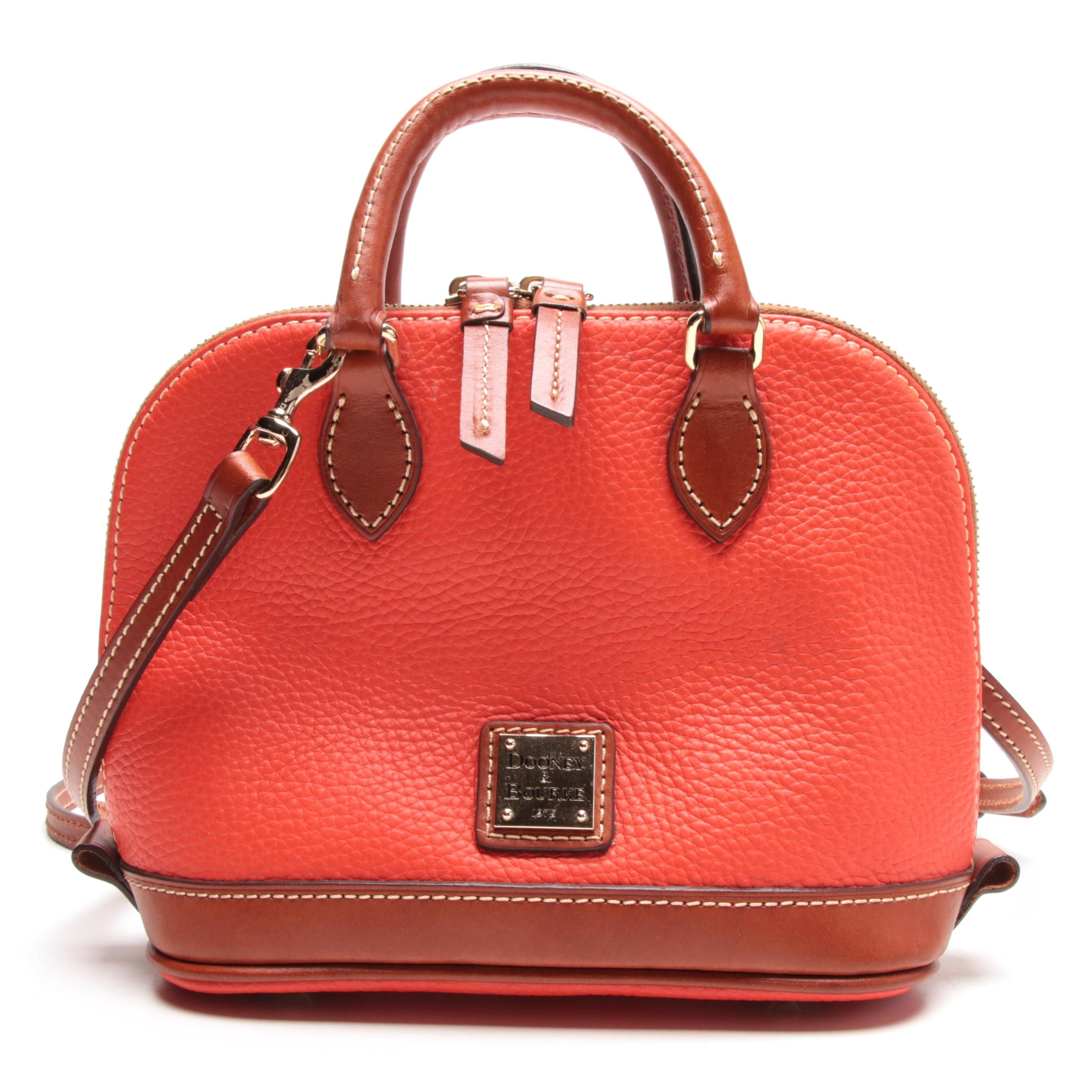 Dooney & Bourke Orange Pebbled Grain Leather Bitsy Bag Trimmed in Brown Leather