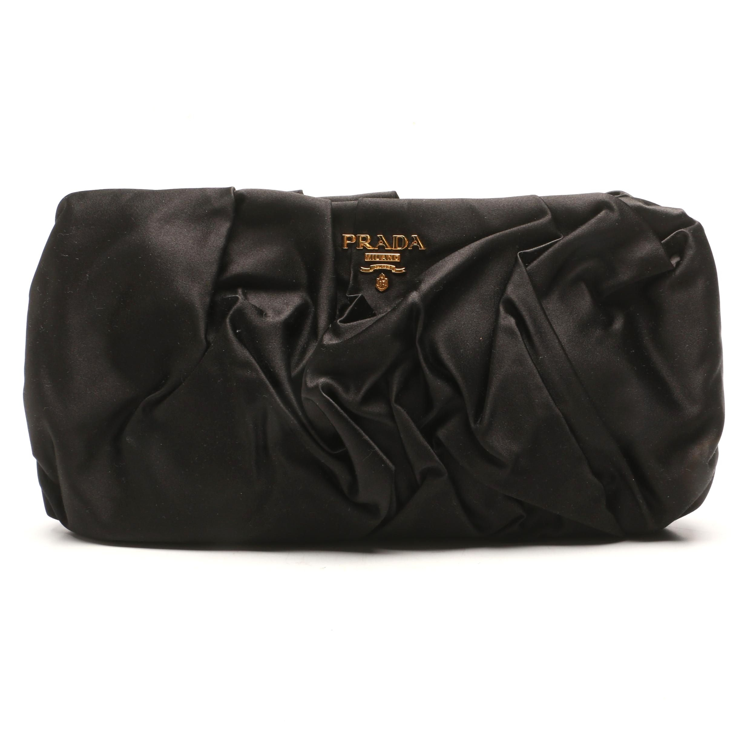 Prada Raso Nero Black Satin Pochette Clutch
