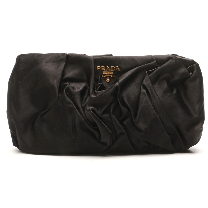 b675c5a711c66a Prada Raso Nero Black Satin Pochette Clutch : EBTH