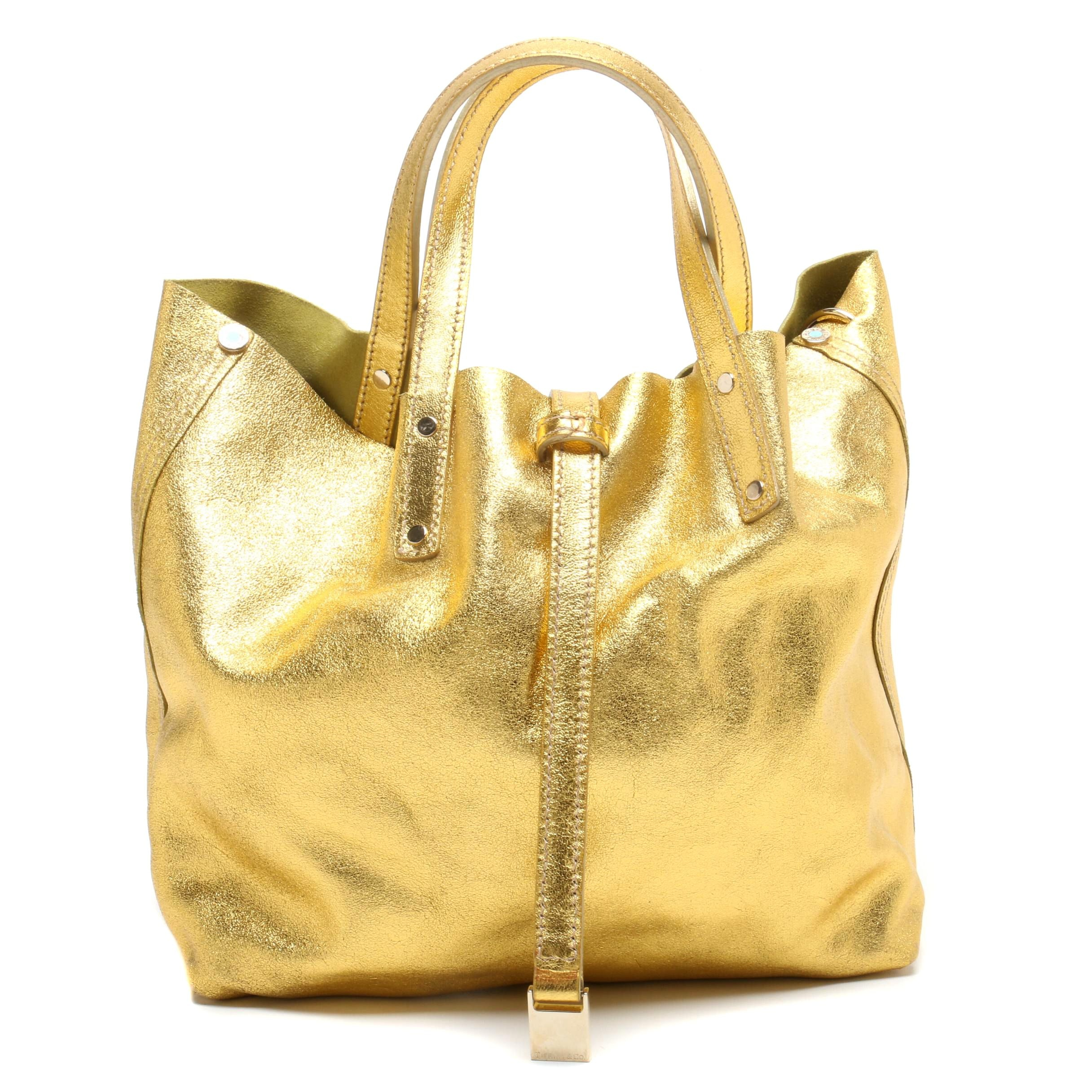 Tiffany & Co. Metallic Gold Leather and Green Suede Reversible Tote