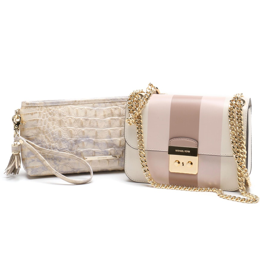 a1a723a91197 MICHAEL Michael Kors Striped Crossbody and Brahmin Alligator Embossed  Wristlet : EBTH