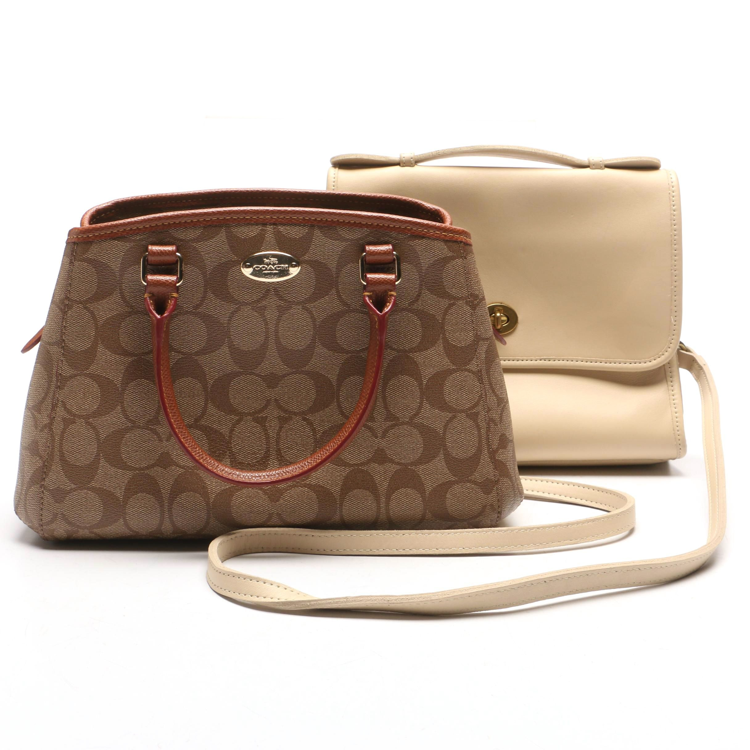 Coach Signature Mini Margot Carryall and Coach Court Crossbody in Bone