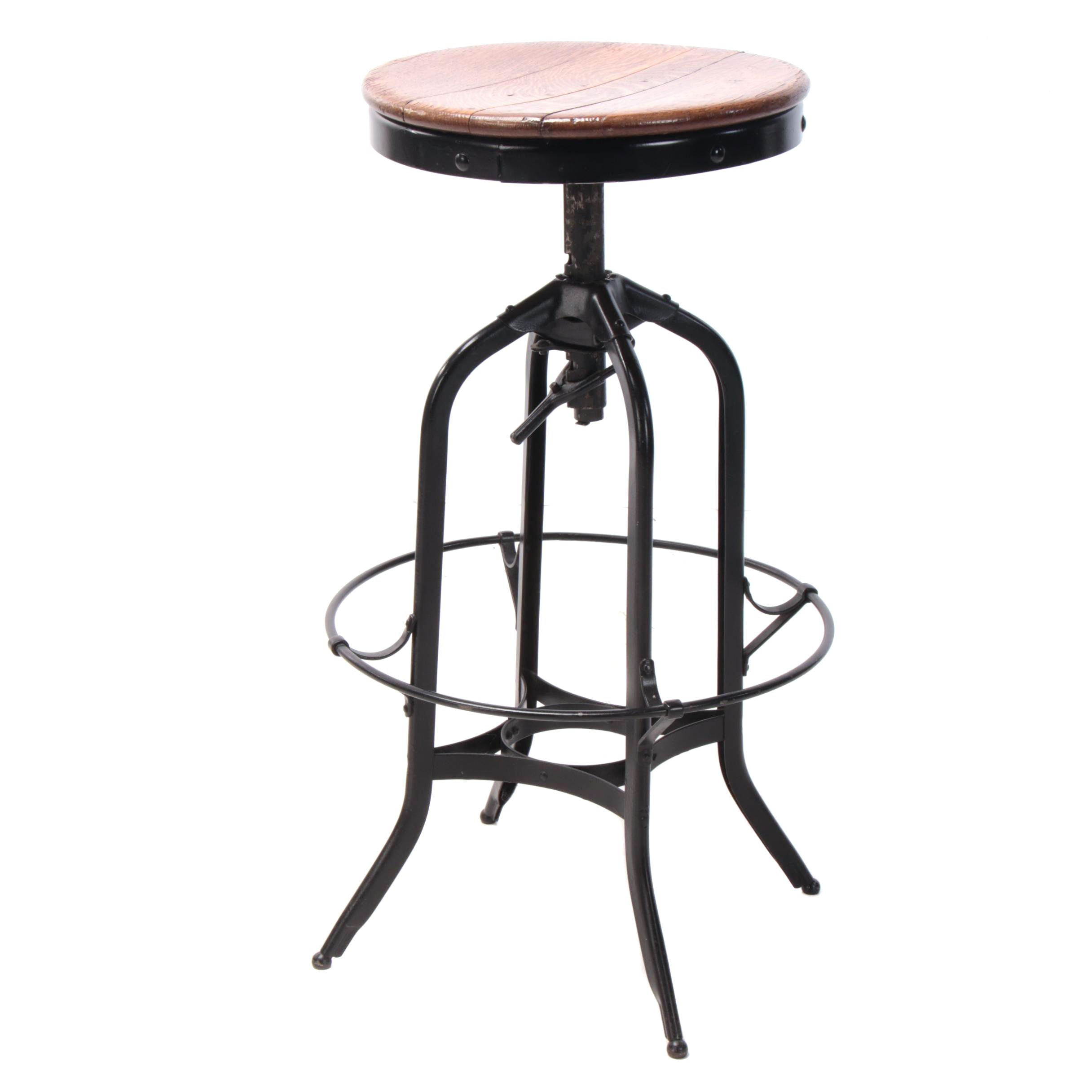 Industrial Black-Painted Steel & Oak Stool, Possibly by Toledo, Mid 20th Century