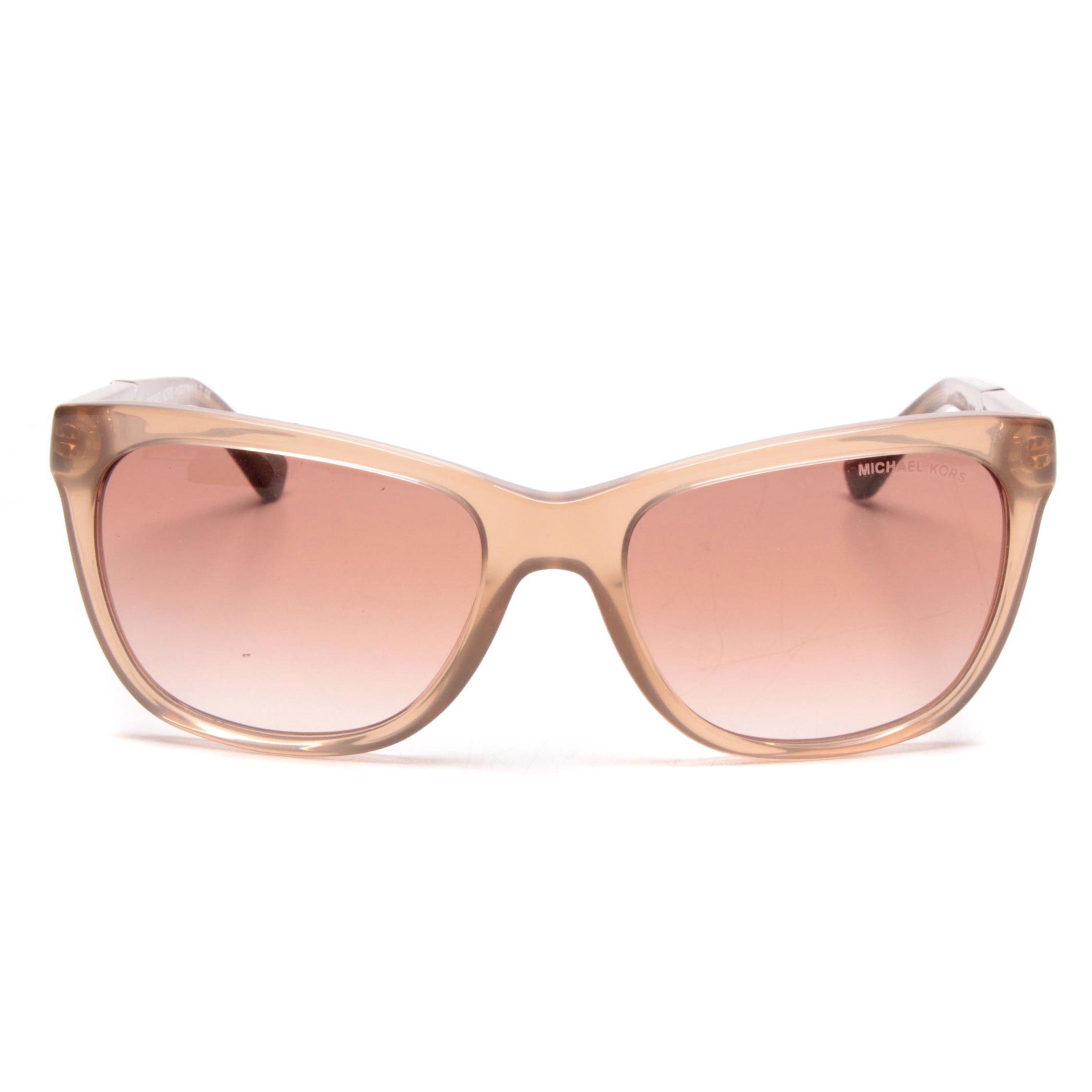 Michael Kors Rania II Translucent Tan and Animal Print Sunglasses with Case