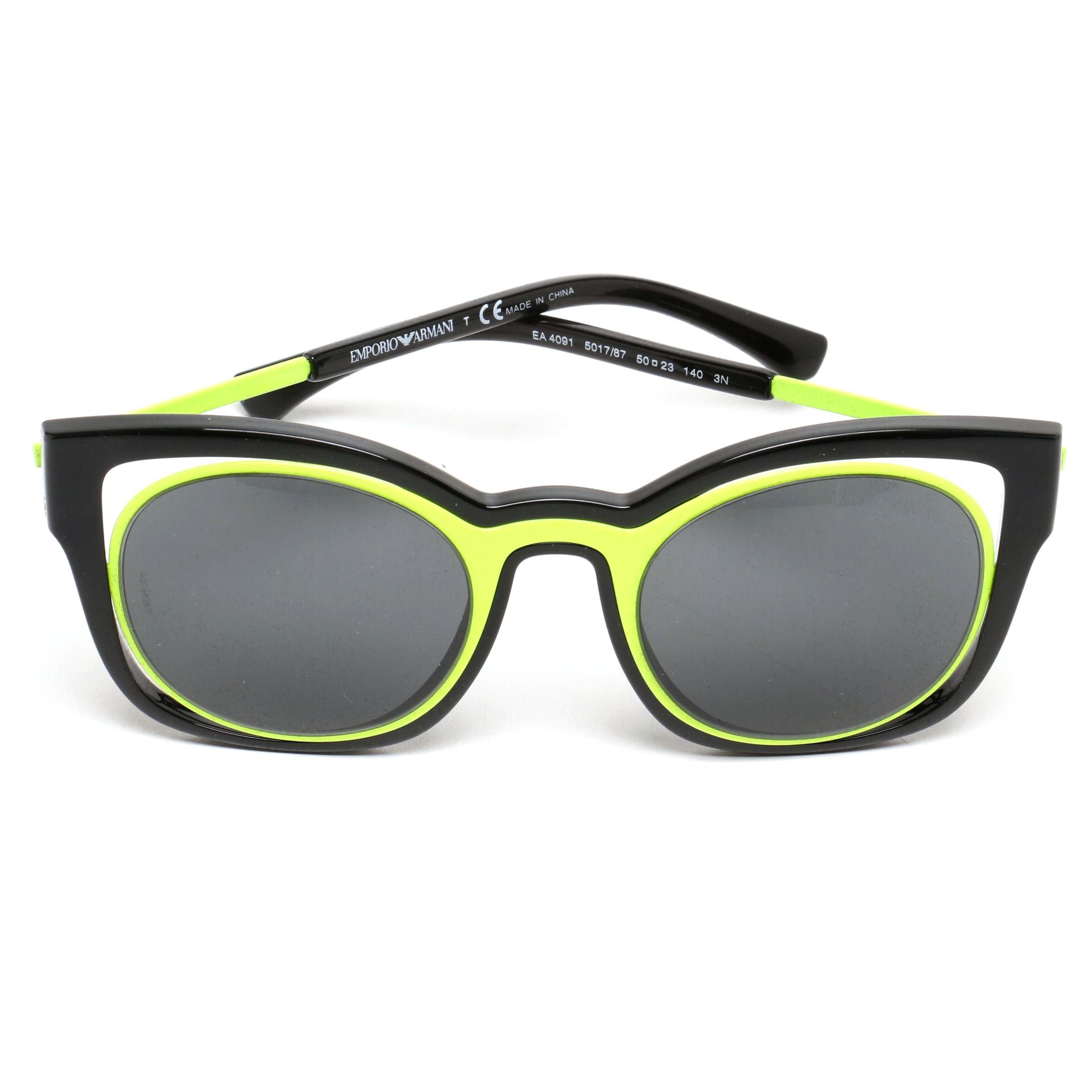 Emporio Armani Black and Neon Yellow Modified Cat Eye Sunglasses with Case