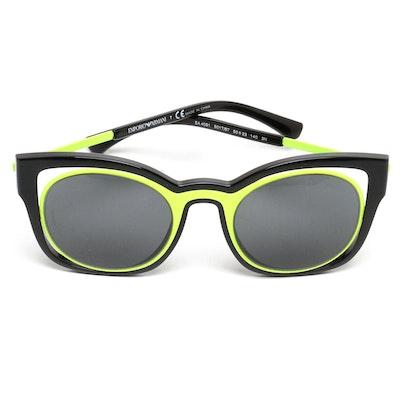 e80bf98fb8 Emporio Armani Black and Neon Yellow Modified Cat Eye Sunglasses with Case