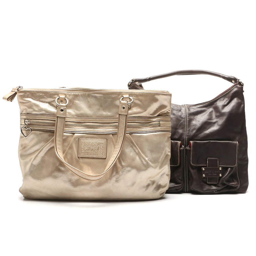 12641a42b24 Coach Poppy Metallic Gold Daisy Tote Bag and Kate Spade New York Leather Bag  ...