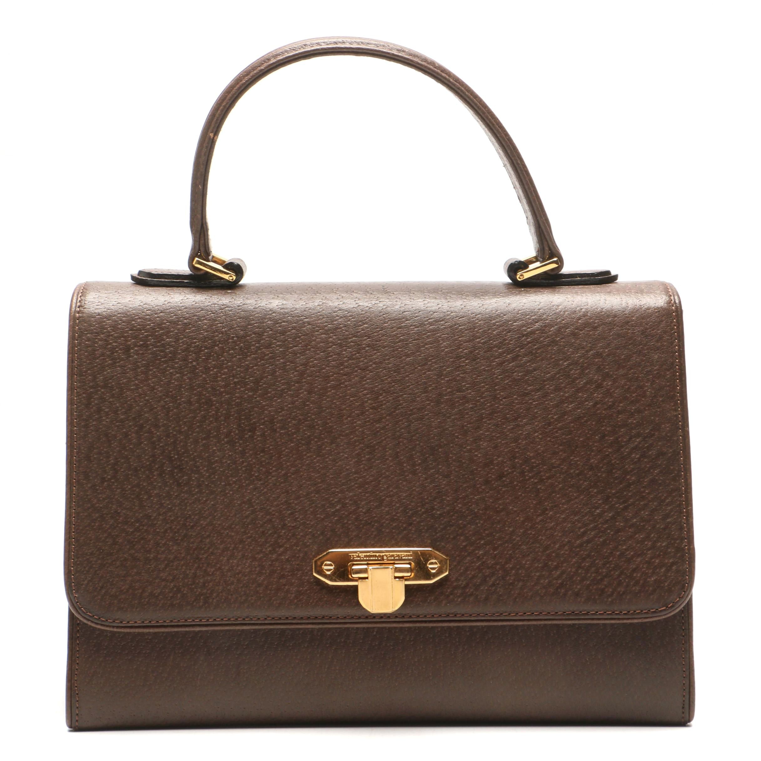 Valentino Garavani Brown Leather Satchel, Vintage