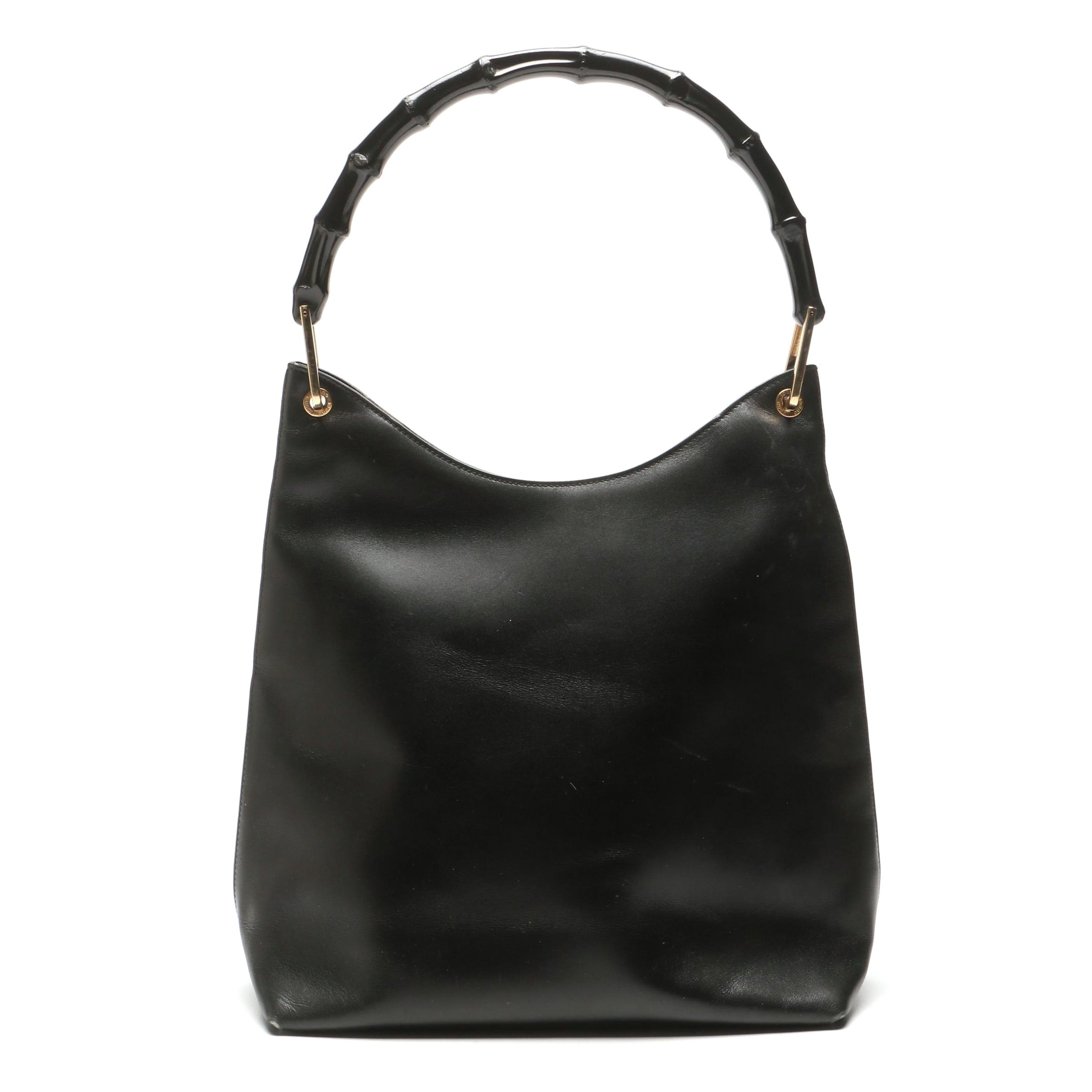 Gucci Black Leather Handbag with Bamboo Style Handle